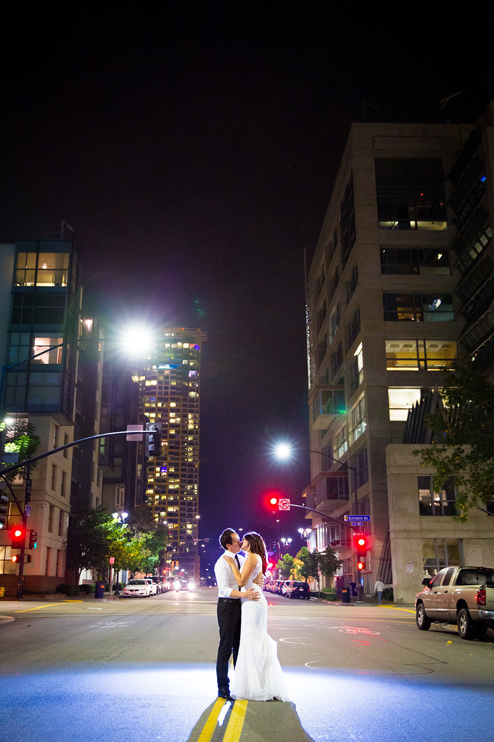 night shot of bride and groom in downtown san diego luce loft