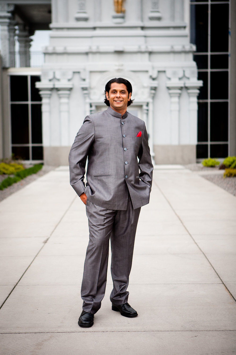 Indian groom in a stylish modern suit before his wedding