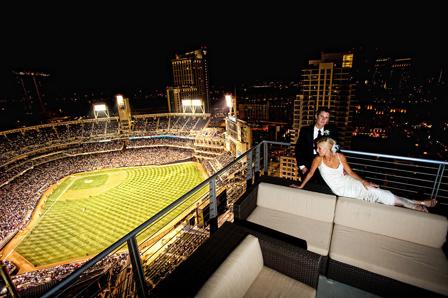 Wedding portrait with Petco Park in the background