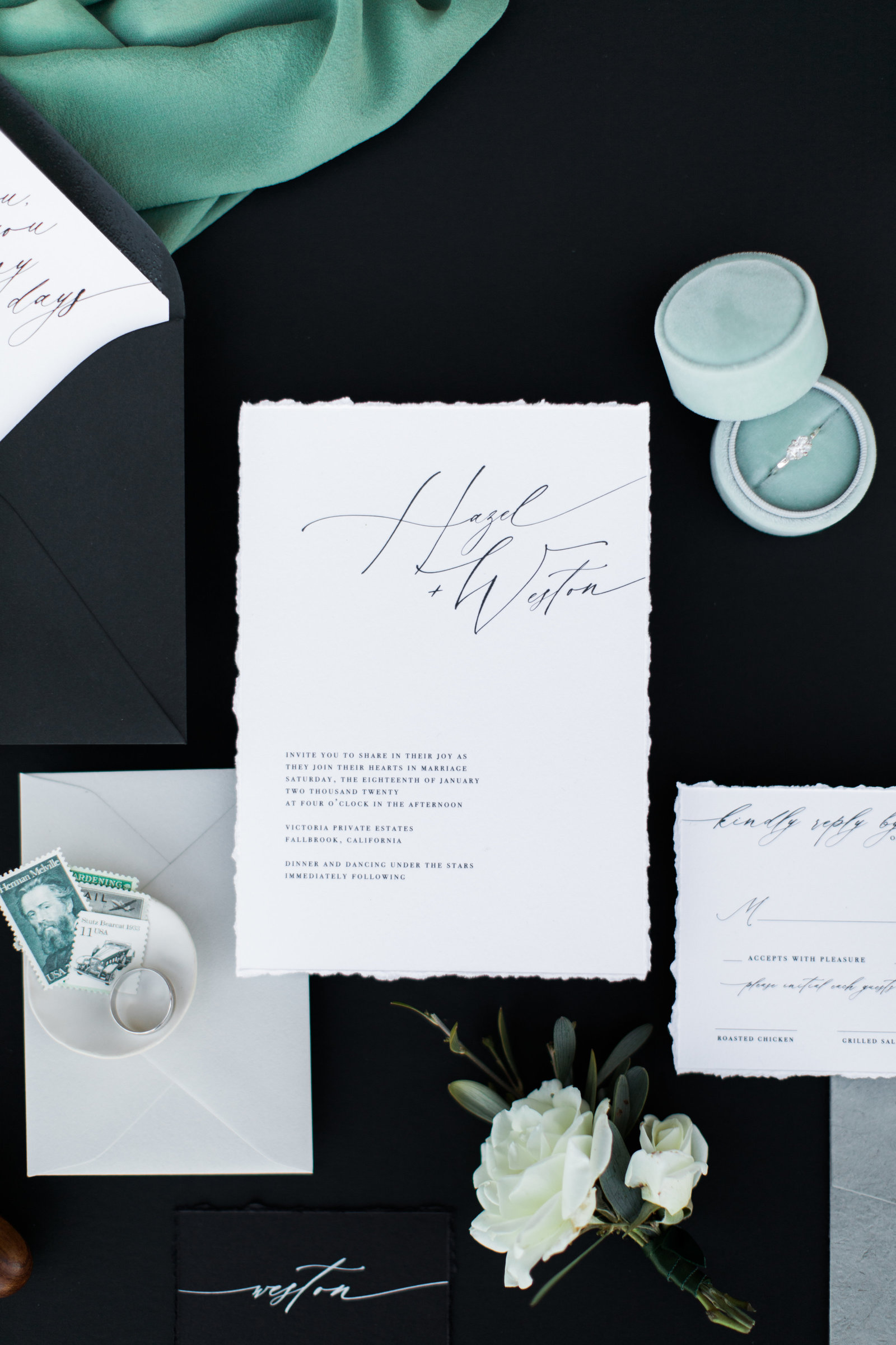 stamps and wedding stationary