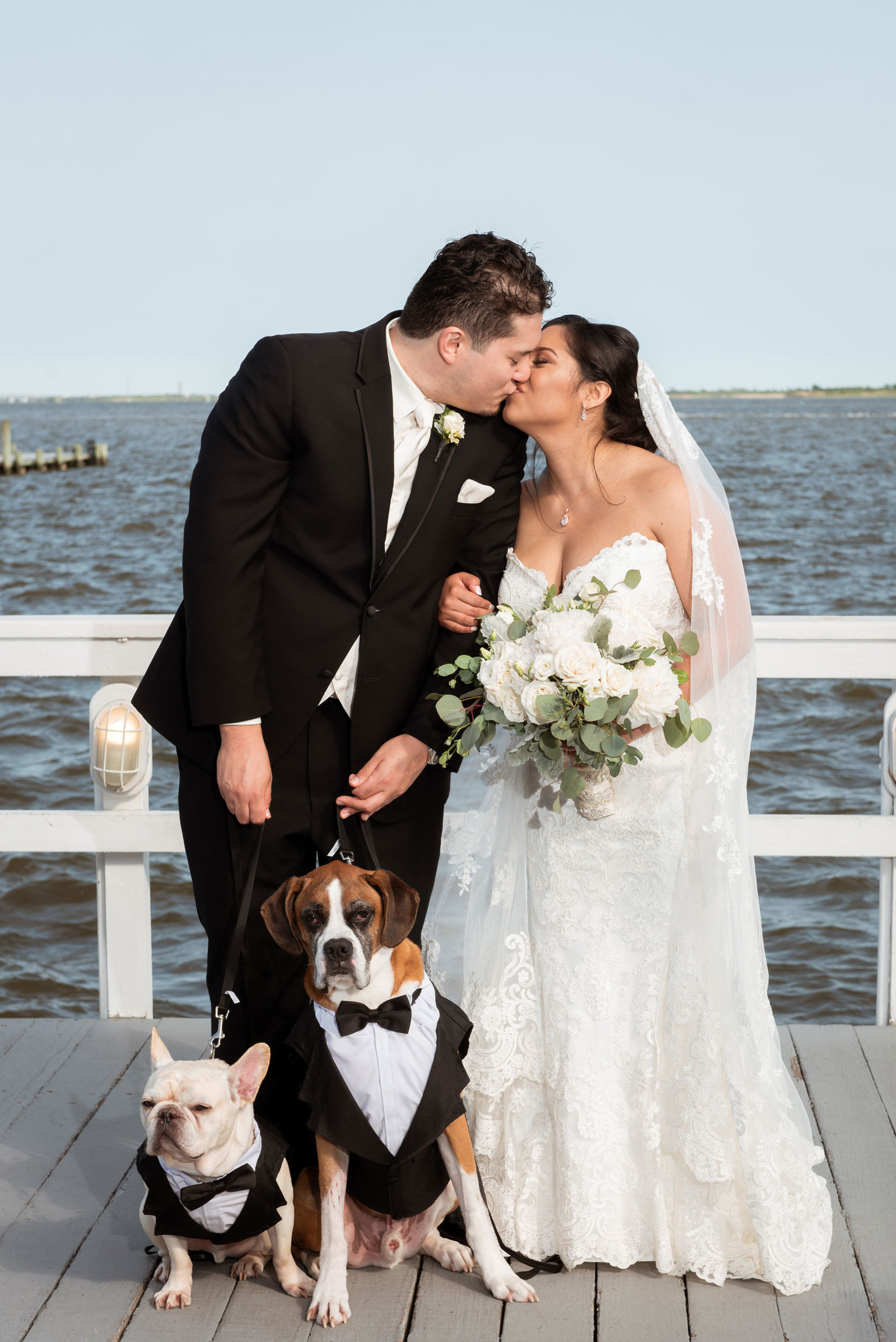 Bride and groom kissing with dogs on dock at Chateau La Mer