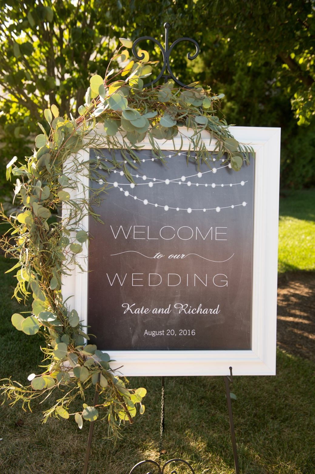 Chalk board ceremony welcome sign for Belle Mer wedding in Newport, RI