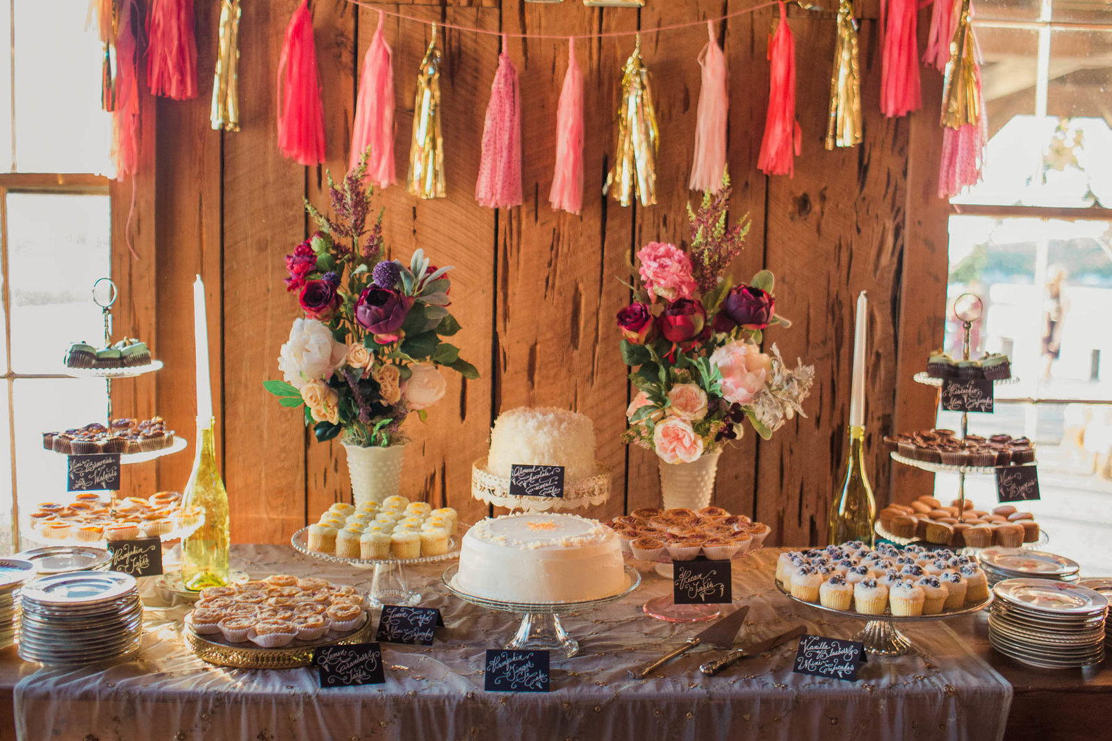 Cake stand has cupcakes, garland and antique plates, Boone Hall Plantation, Charleston, South Carolina