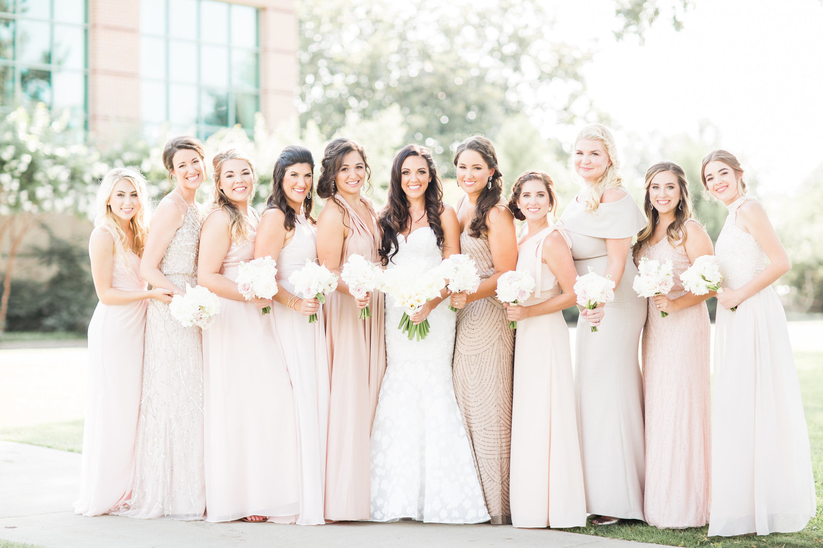 bridesmaids in glittery neutrals