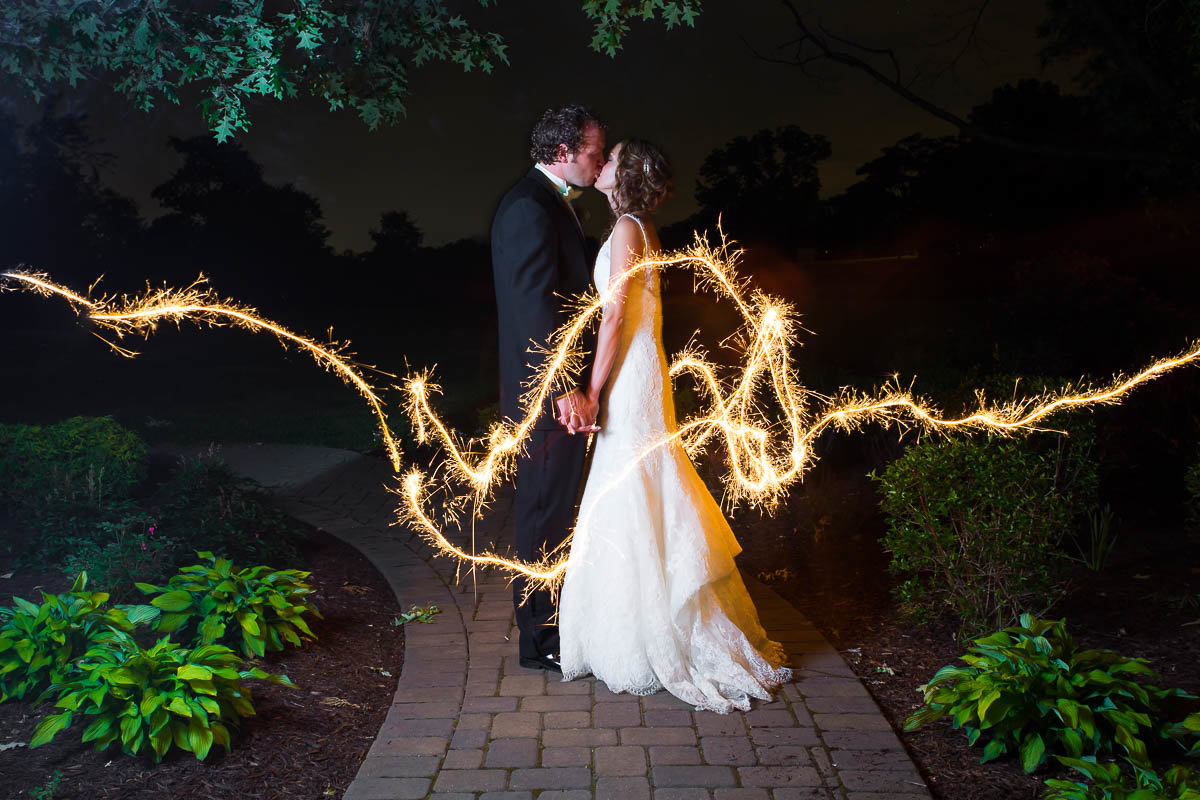 sparkler wedding photo at a beautiful wedding in maryland