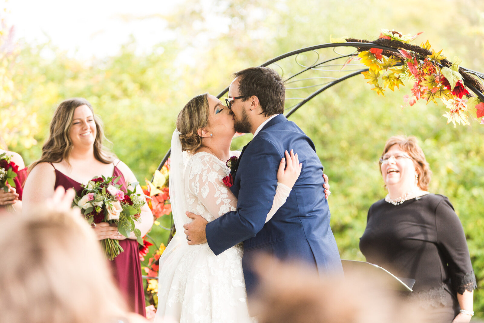 first kiss at micro wedding bride and groom ohio