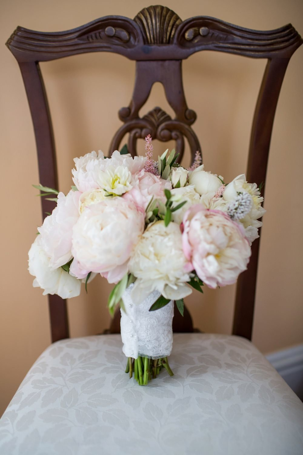 Classic peony bridal bouquet for Eisenhower House wedding in Newport, RI