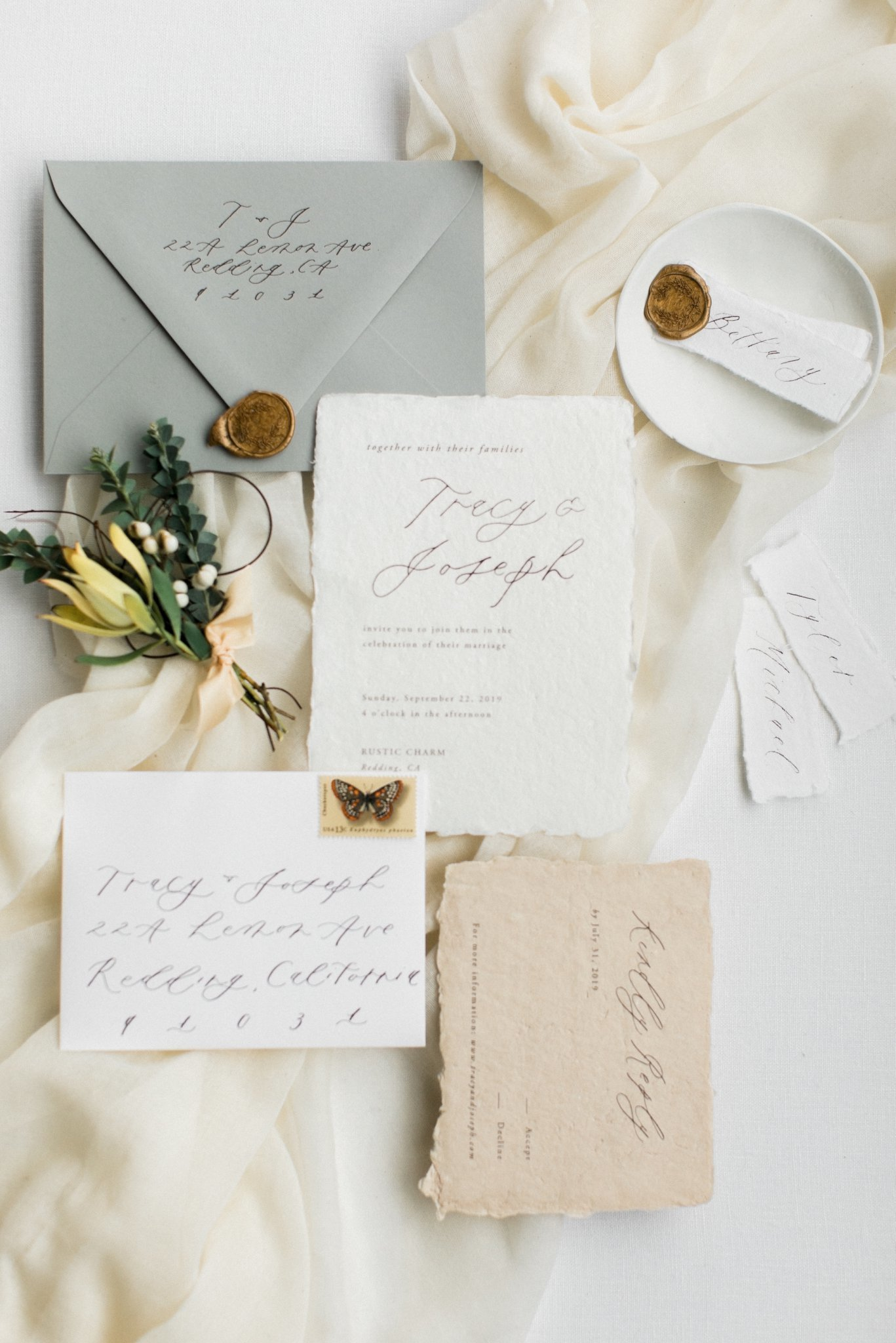 Neutral toned Wedding Invitations with Handmade Torn Paper