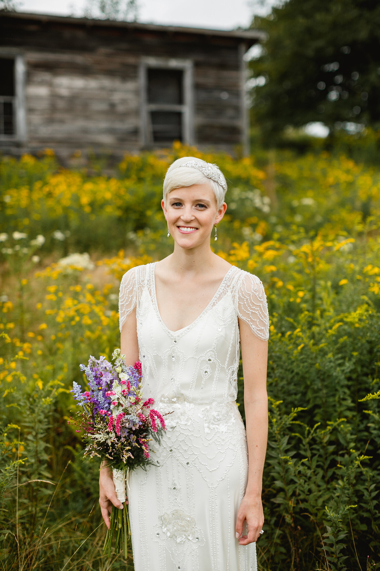 bride vintage dress pixie haircut farm
