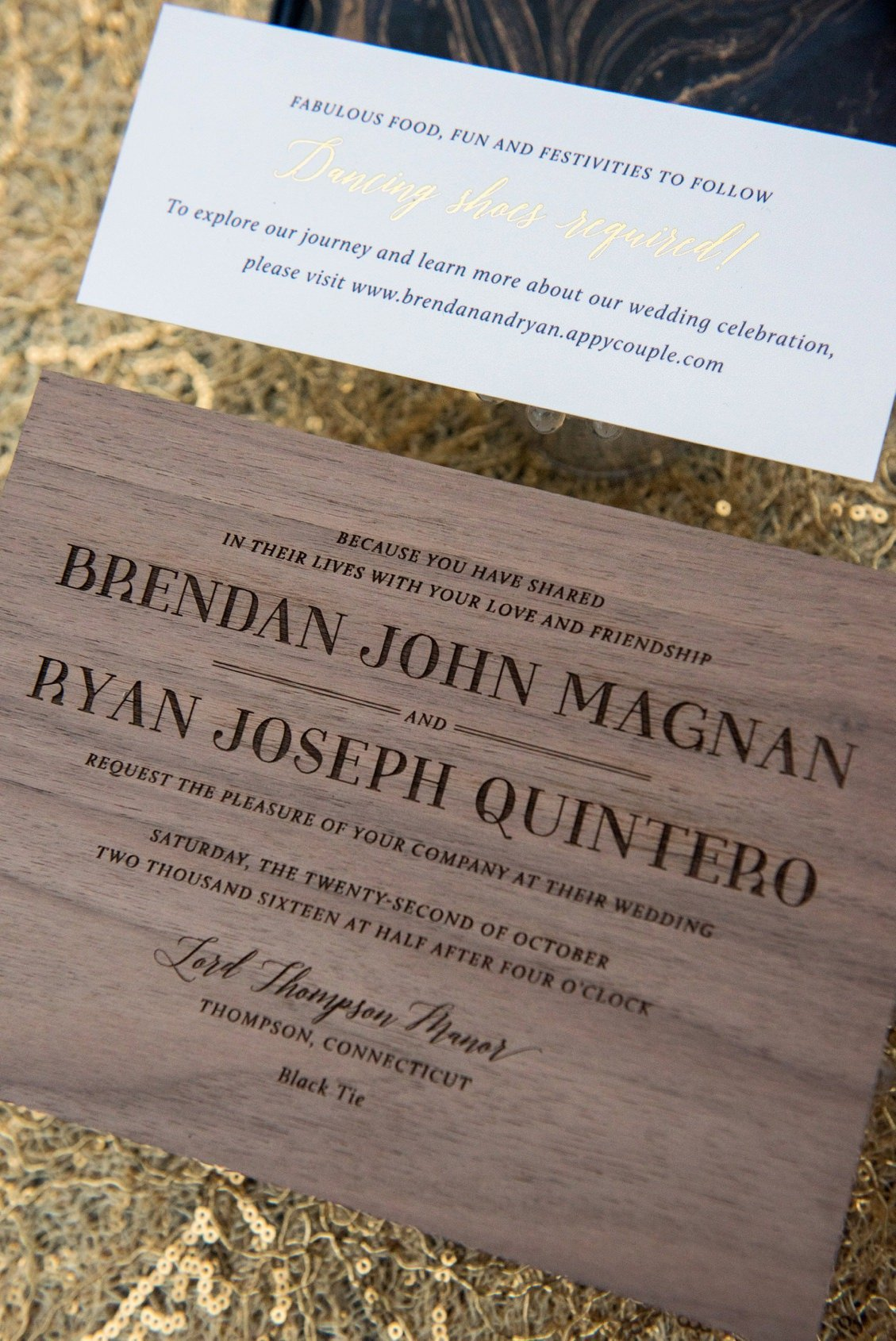 Masculine wooden wedding invitations by Coral Pheasant for Jubilee Events -- Brendan & Ryan's wedding at Lord Thompson Manor in CT