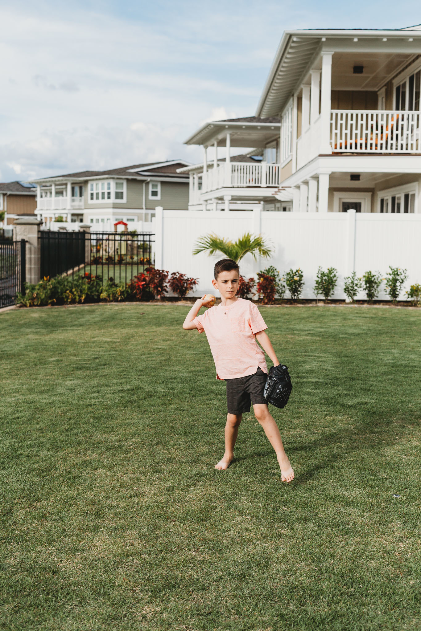 Oahu, Hawaii Lifestyle Photographer - Lifestyle Photography - Brooke Flanagan Photography - Boy playing baseball