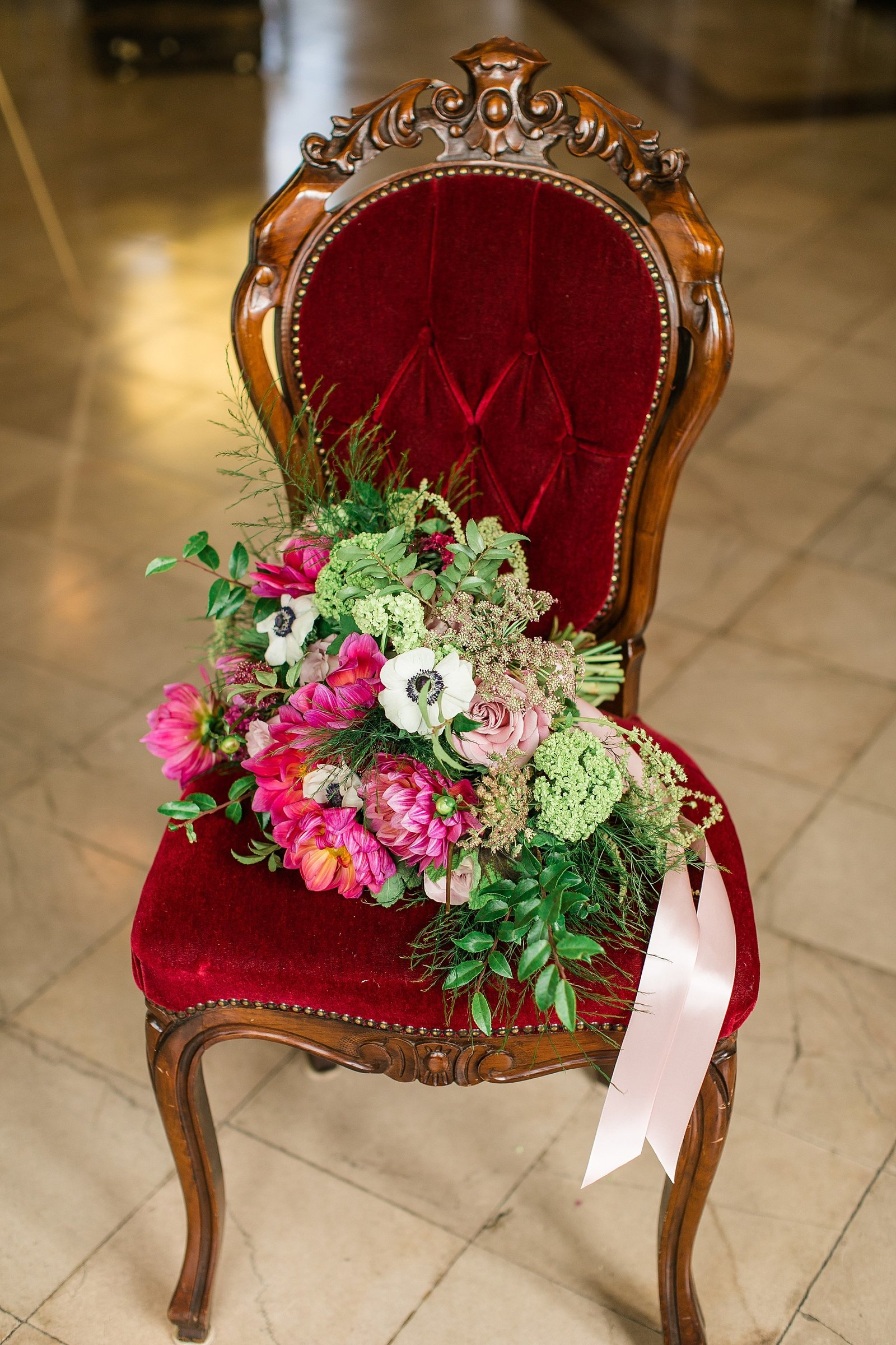 red-velvet-chair-bridal-bouquet-pink-satin