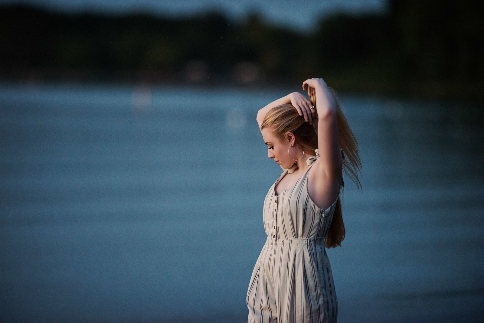 Sunset at the lake senior picture