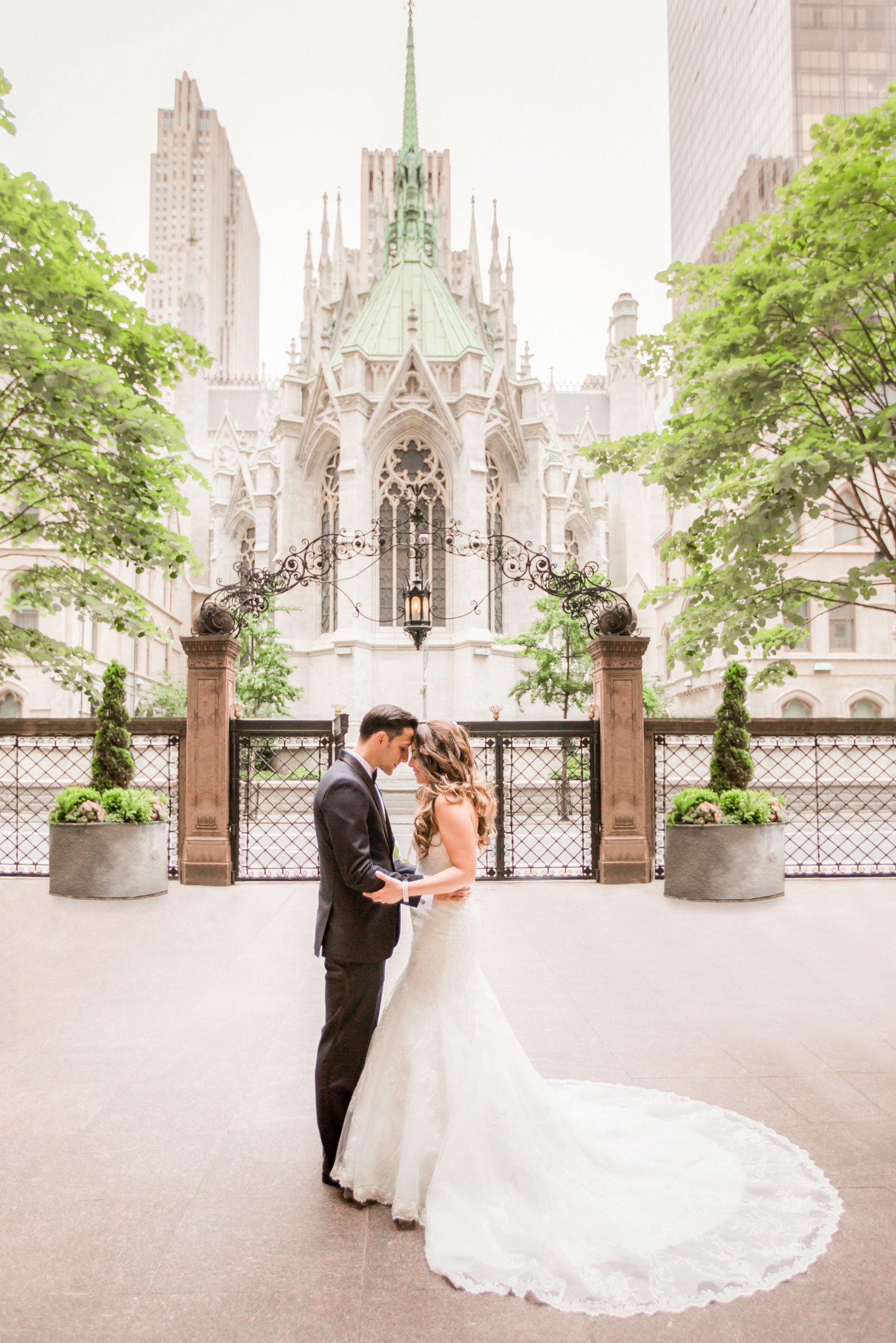 Bride and groom at St. Patrick's Cathedral