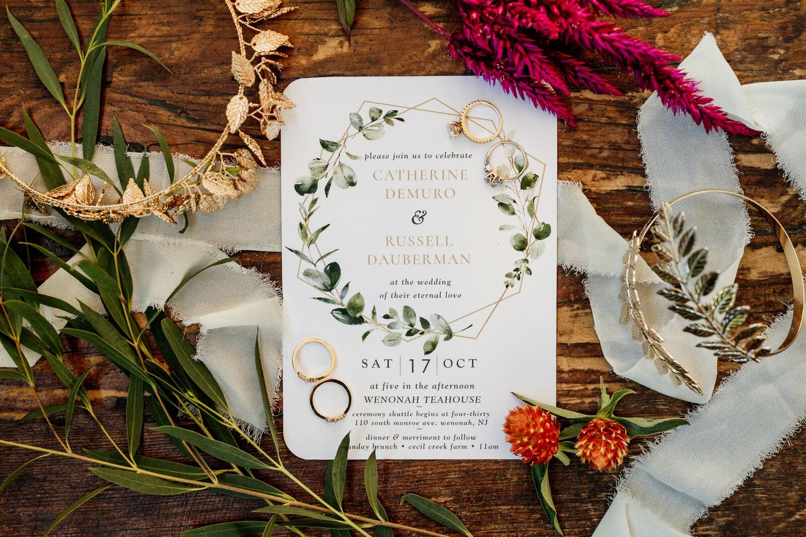 modern wedding invitations with flowers gold jewelry