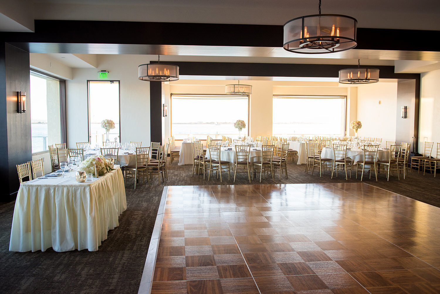 reception with beautiful views and dance floor