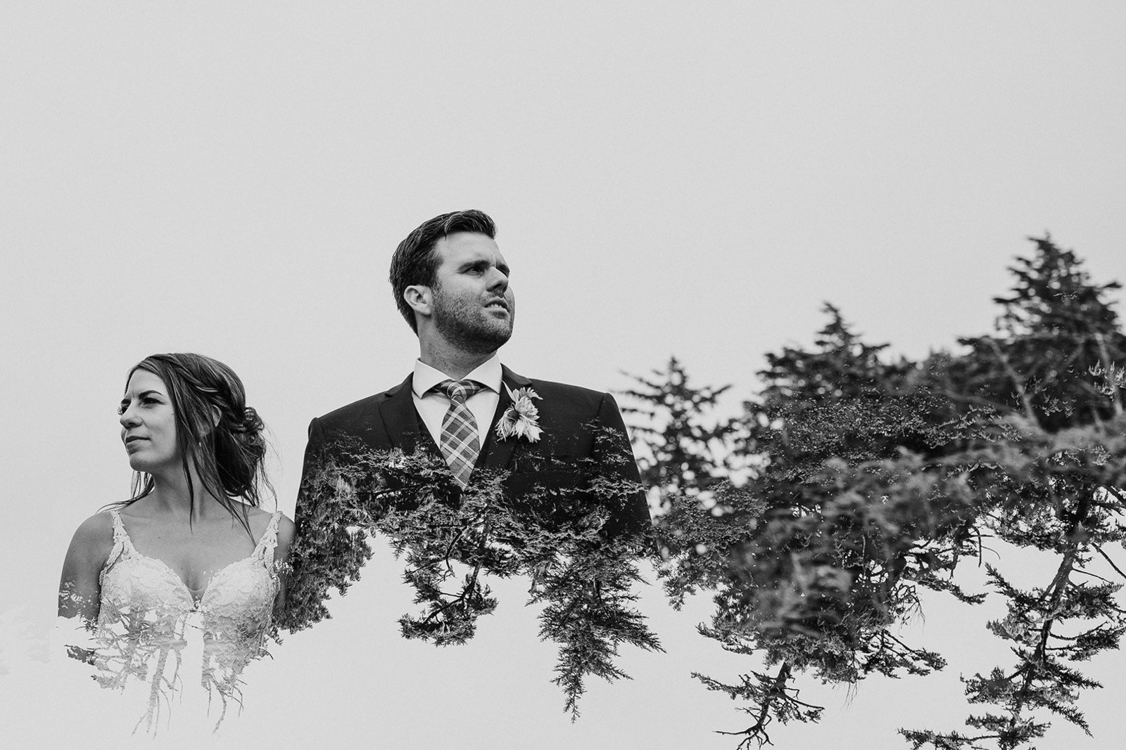 Bride and groom double exposure with trees