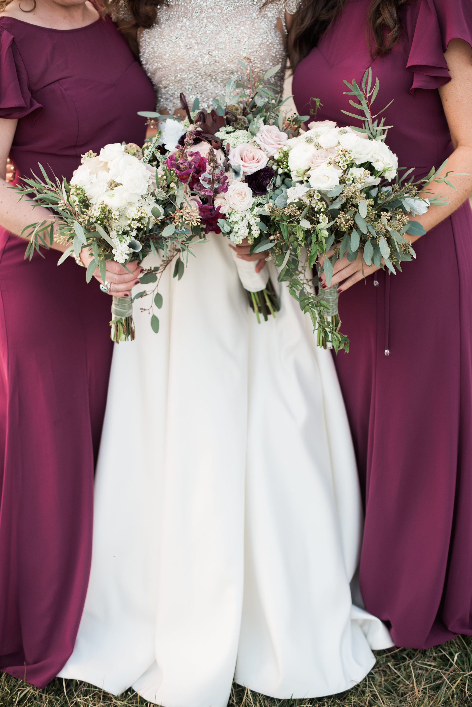 Maroon Bridesmaids Dresses from Early Mountain Vineyards Winter Wedding