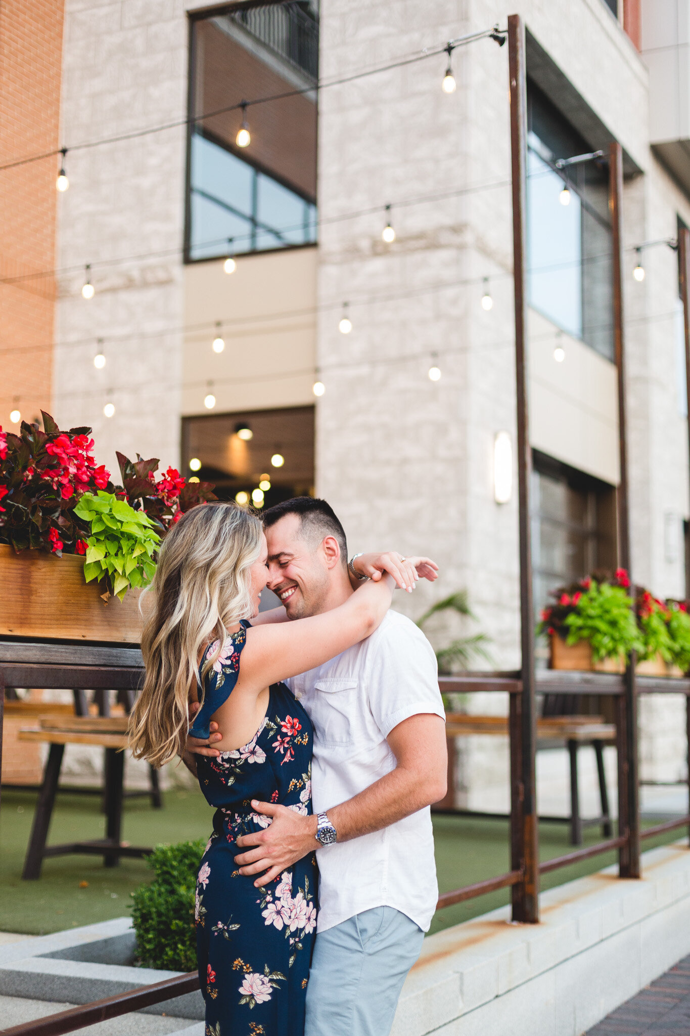 engaged couple kissing in dublin ohio photography session