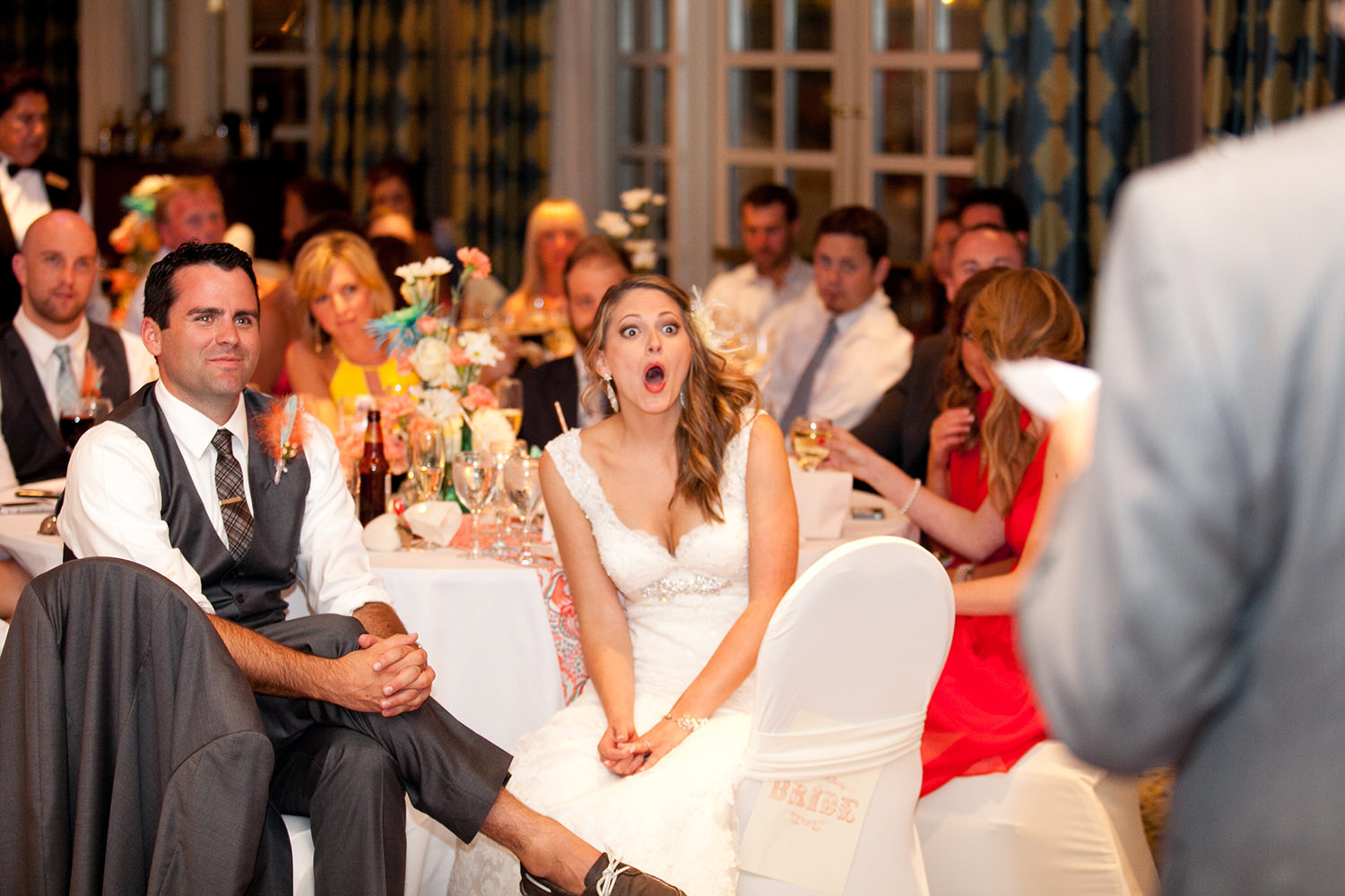 bride with funny face during speeches at hilton mission bay