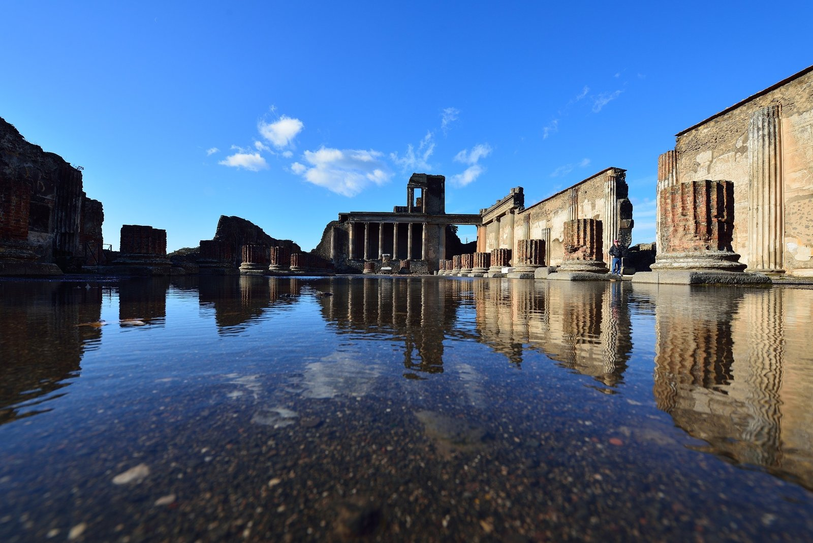 Pompeii reflection in water