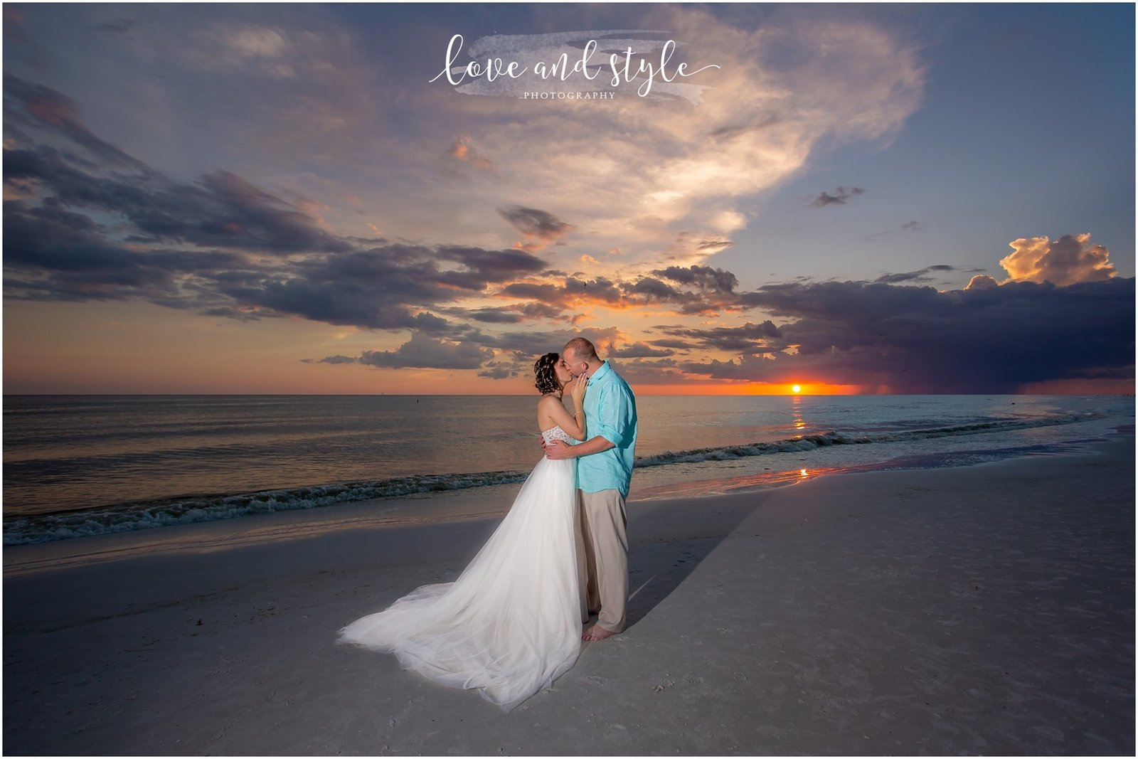 Bride and Groom on Siesta Key Beach at sunset