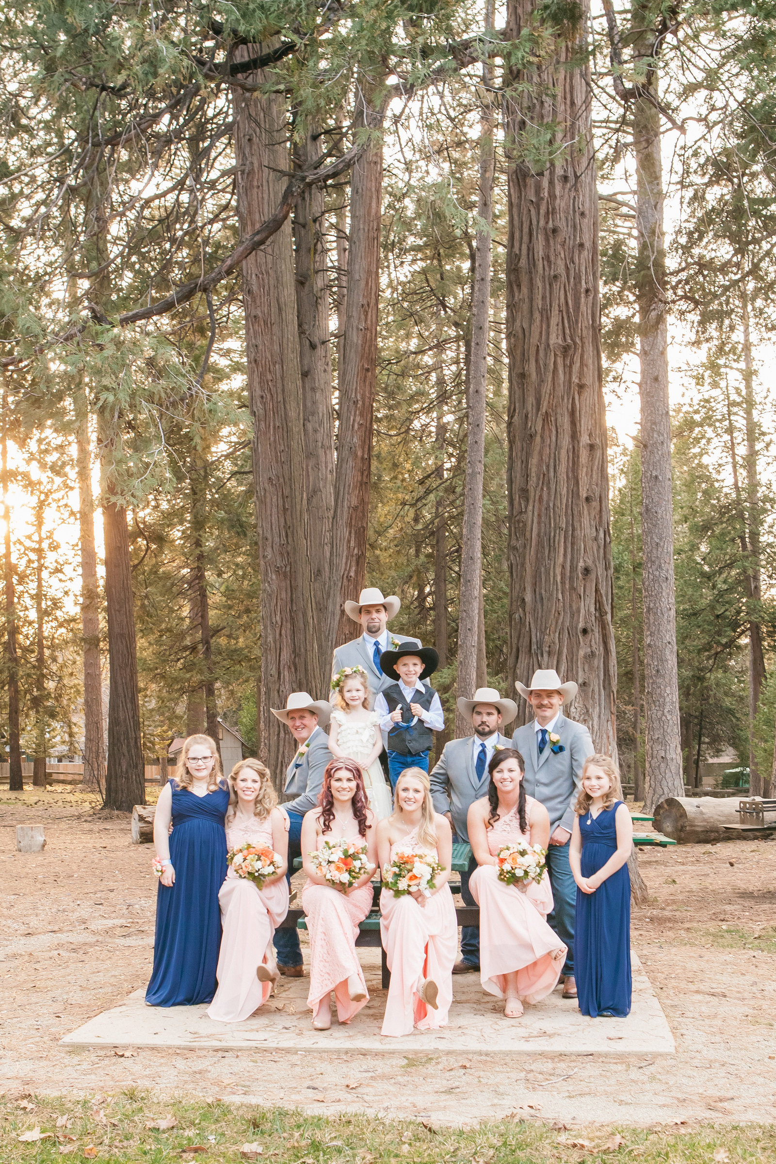 Foresthill Memorial Hall Wedding Party Portrait at Sunset