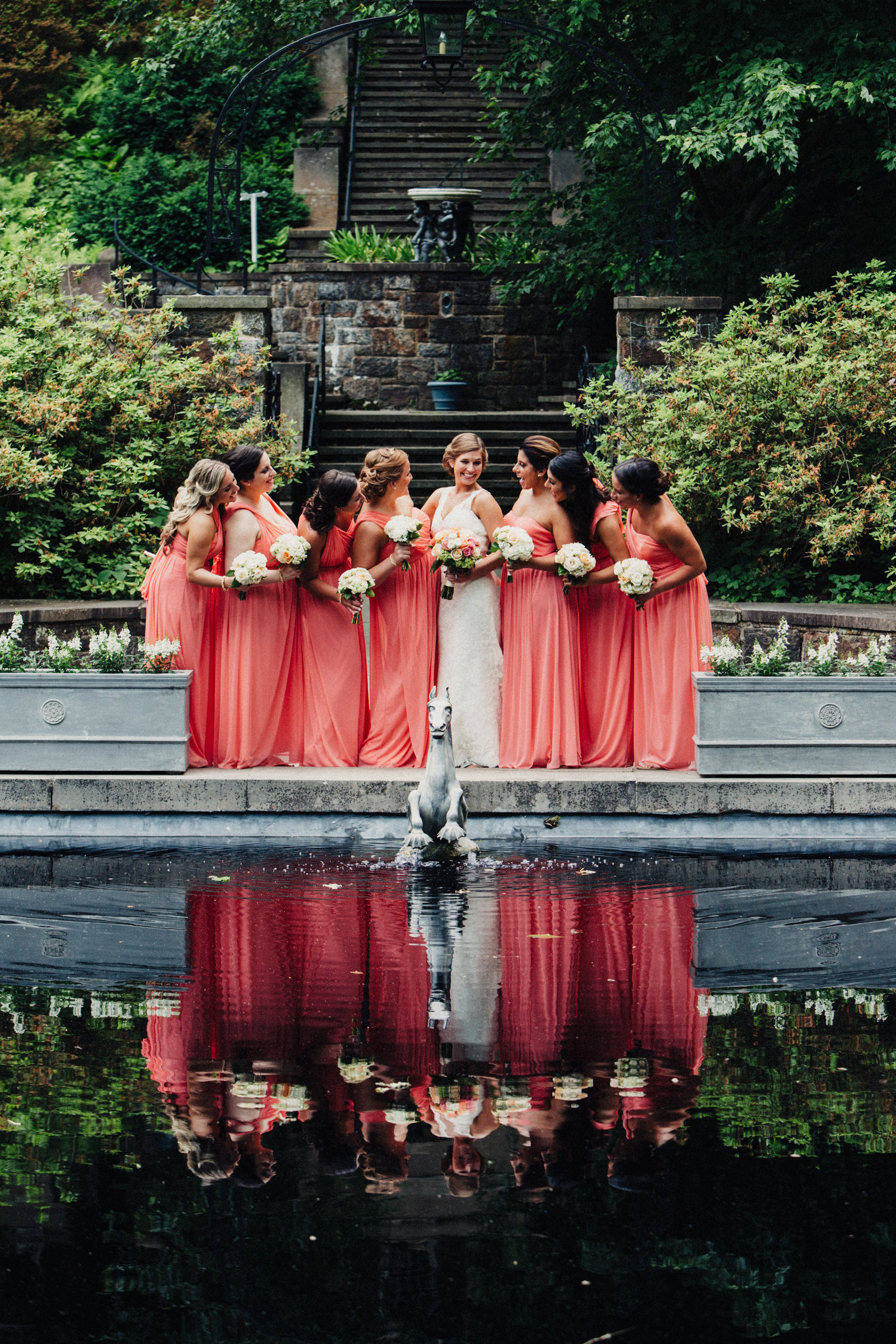 wedding party at the winterthur reflection pond