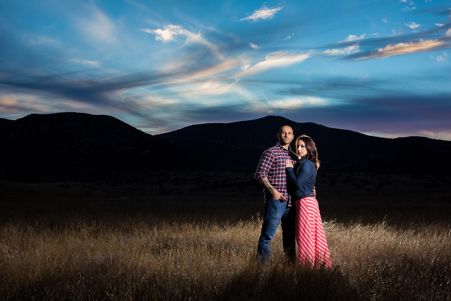 Mission Trails engagement photos dramatic sunset