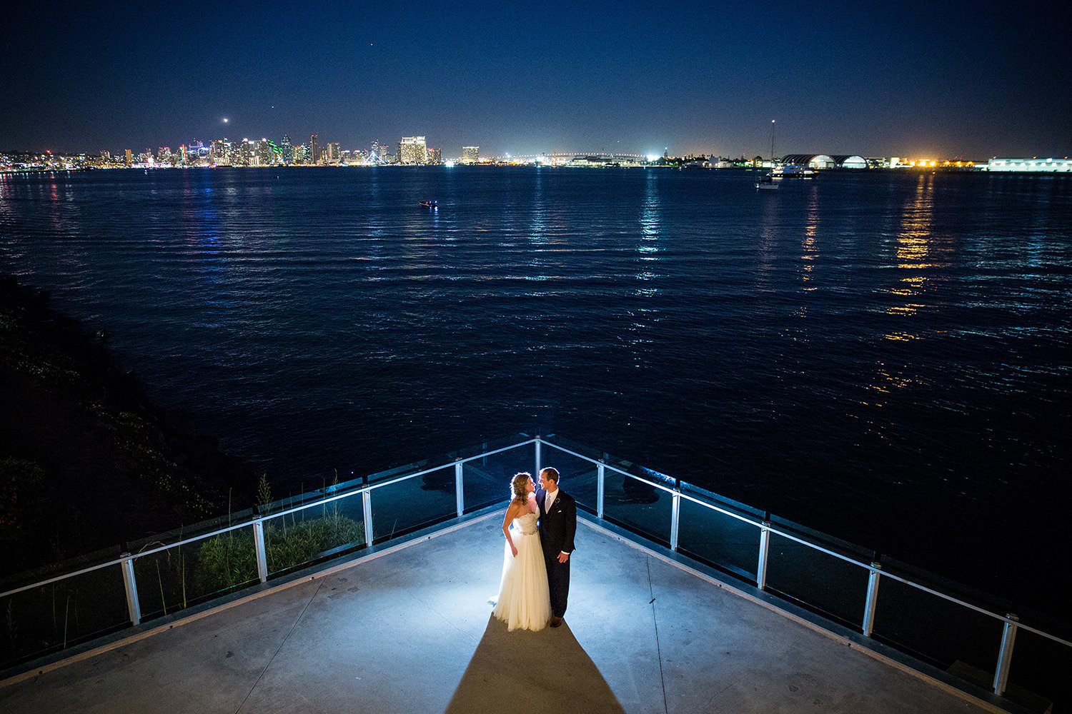 night shot with bride and groom