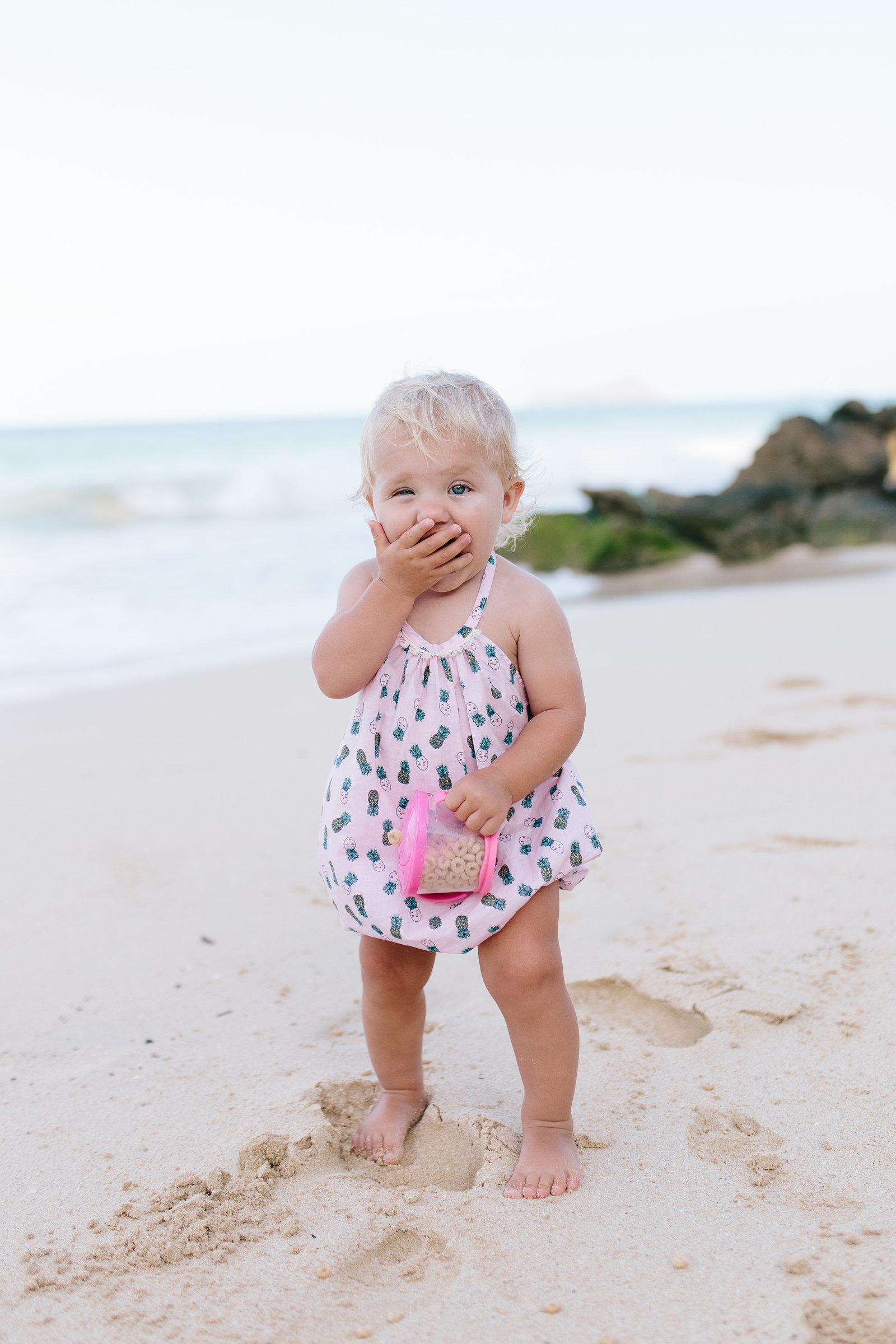 Oahu, Hawaii Lifestyle Photographer - Lifestyle Photography - Brooke Flanagan Photography - Little Girl in Romper on the Beach