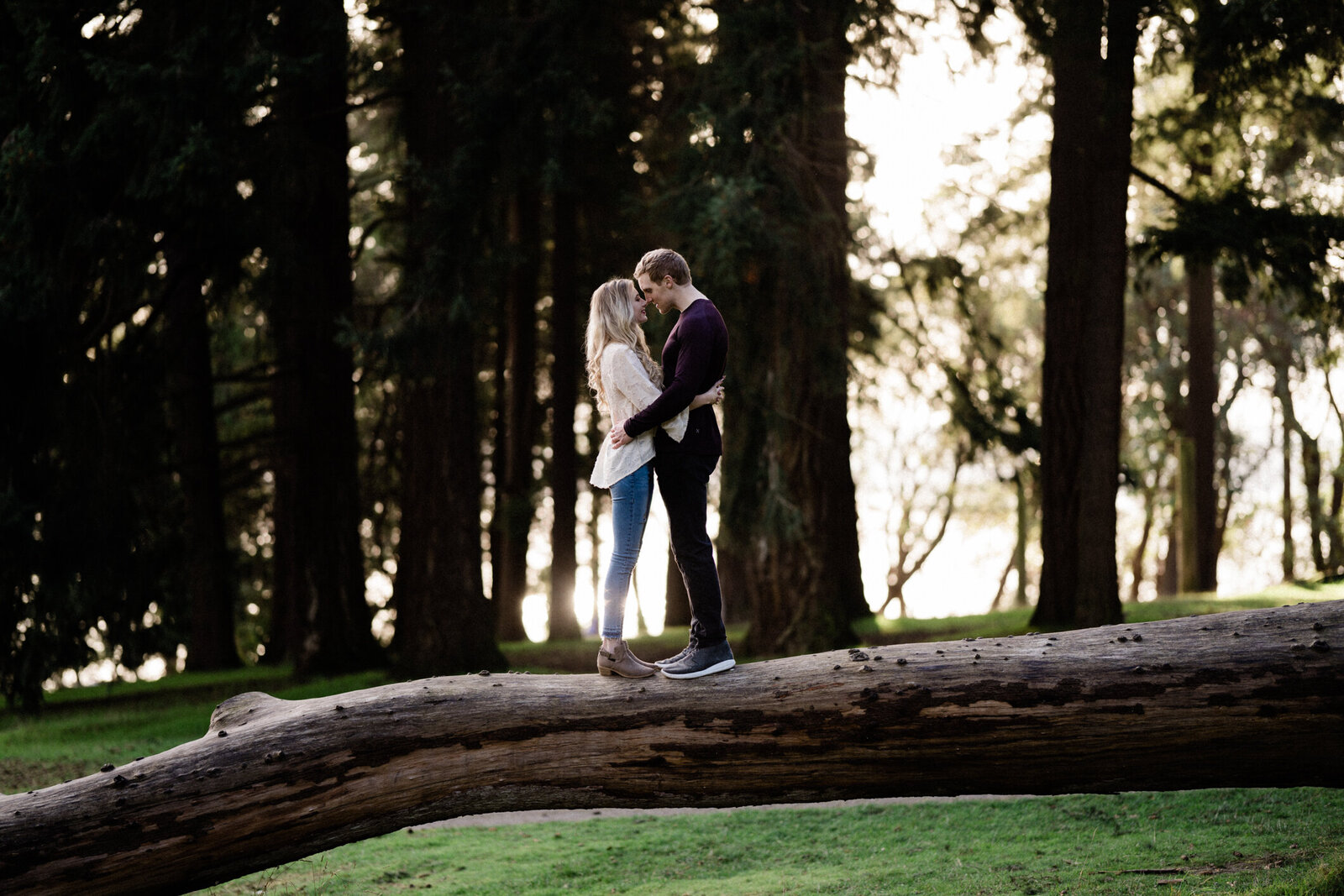Lincoln Park trees and meadows make it one of the best spots for engagement photos in Seattle