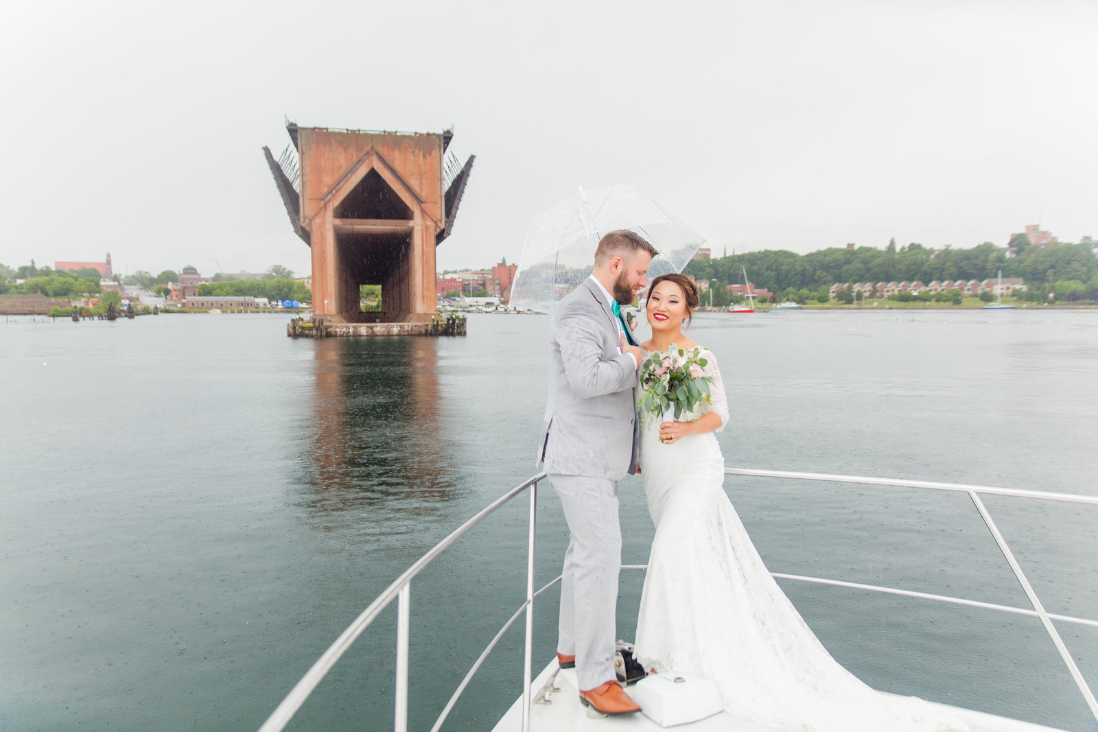 Bride and groom in front of Marquette's iconic Lower Harbor Ore Dock