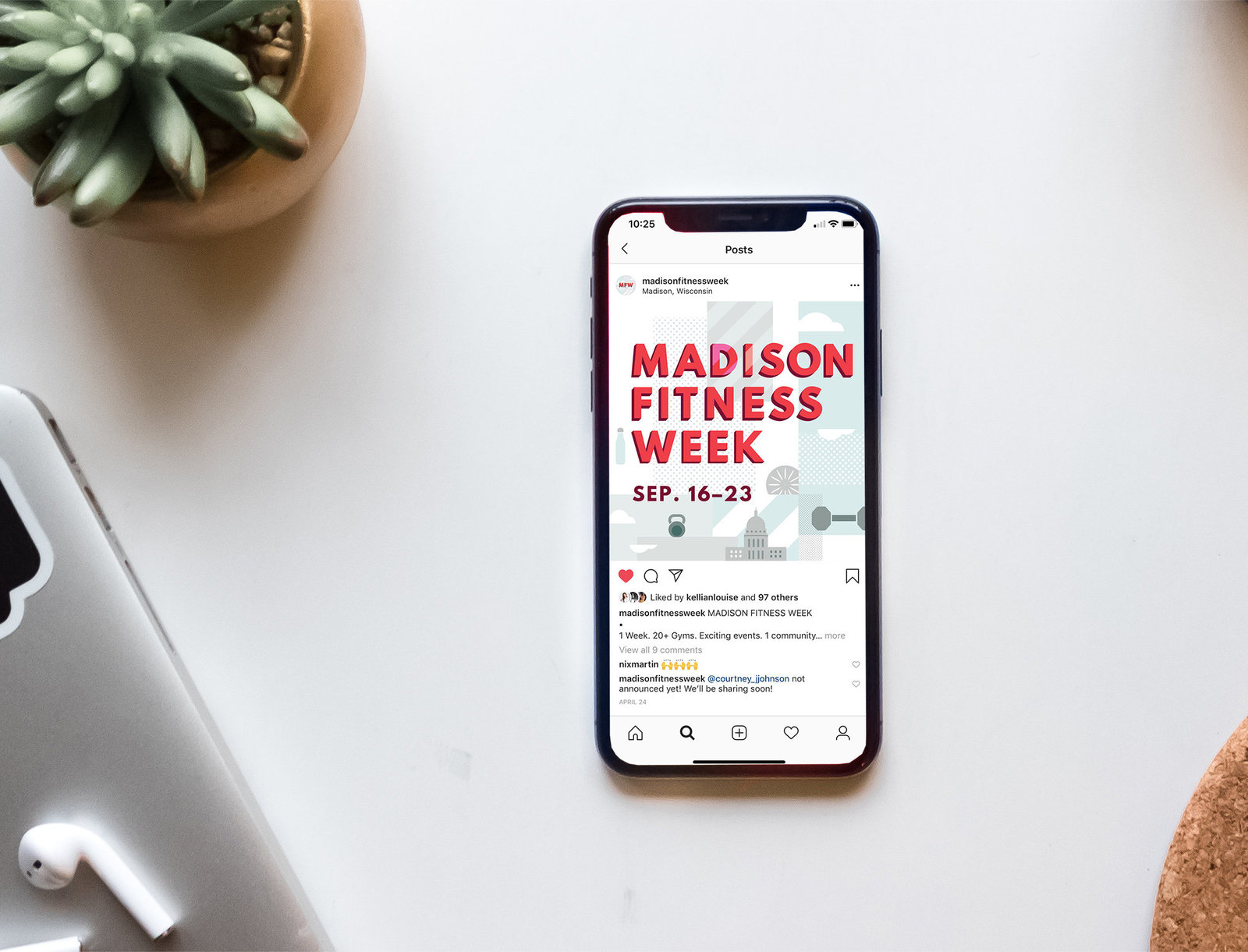 Instagram social media  design for Madison Fitness Week by Christie Evenson, graphic designer and illustrator