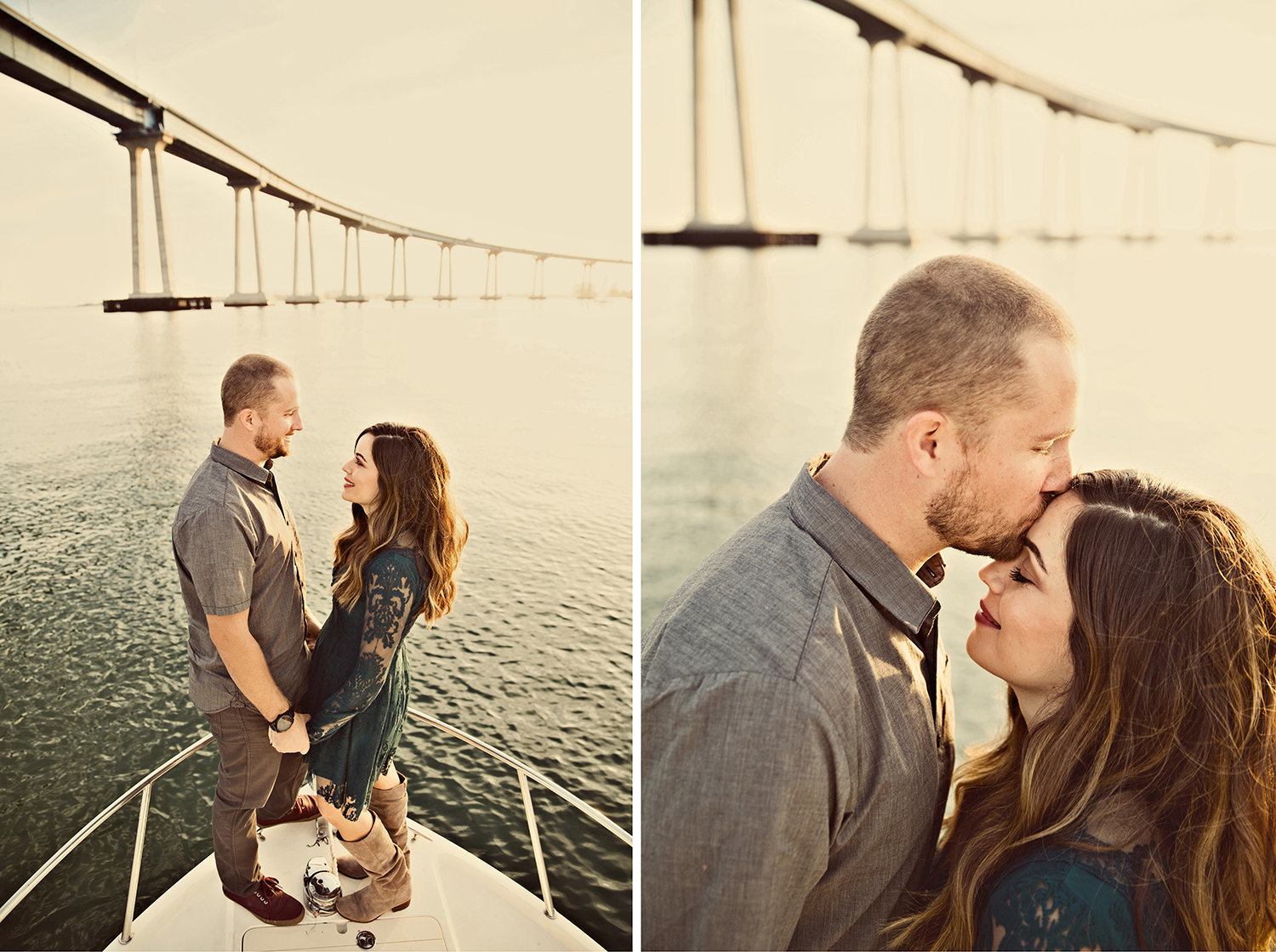 Coronado Bay engagement photos on boat