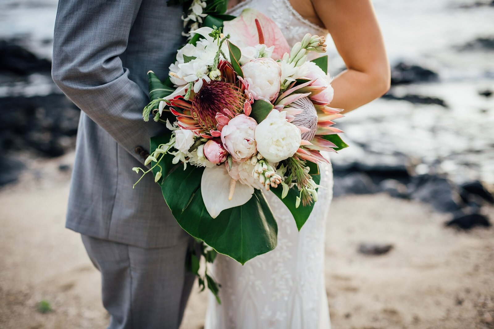 beautiful tropical wedding bouquet