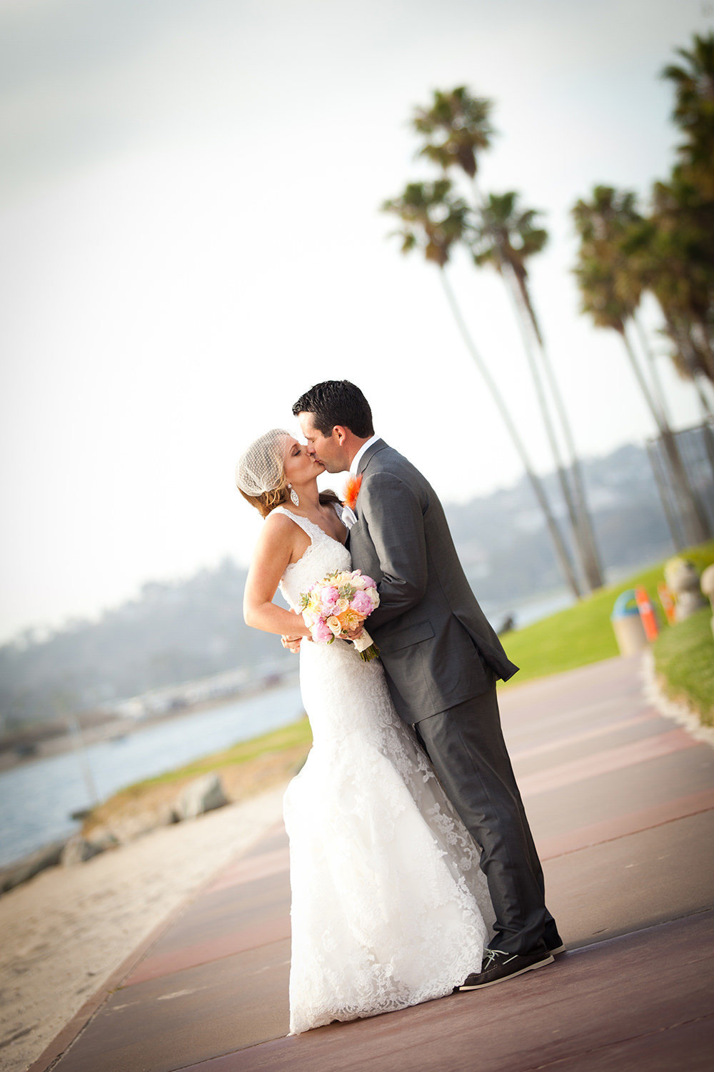 formal bride and groom picture at hilton mission bay