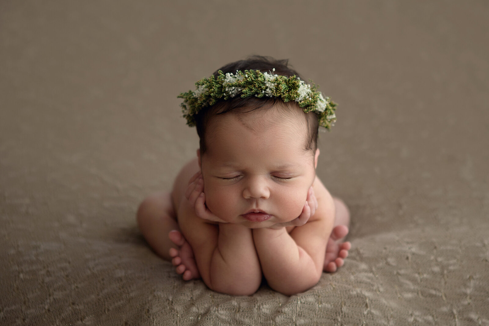 Professional studio portrait of newborn baby posed asleep, brown backdrop