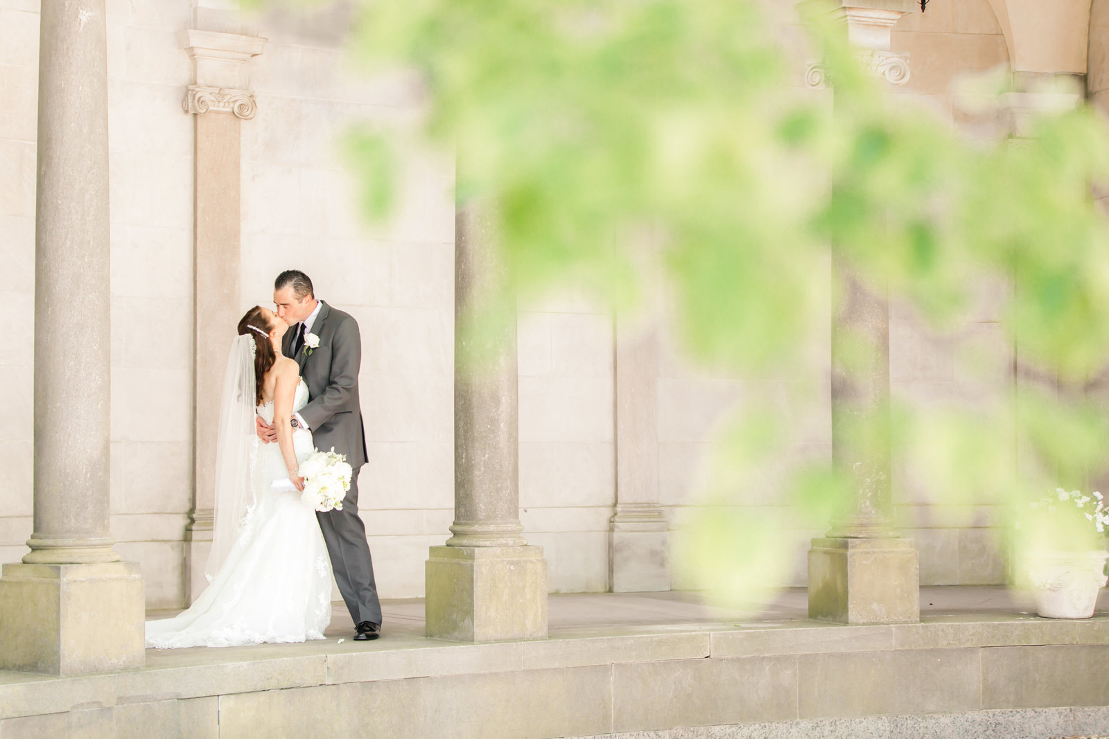 Romantic bride and groom photo at Monmouth University