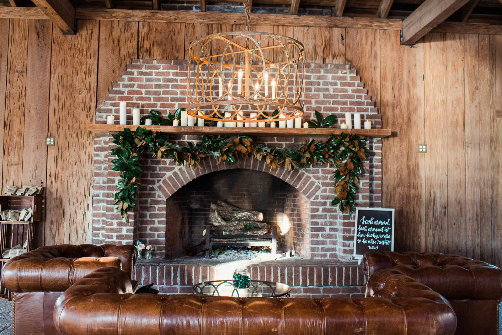 Cotton Dock fireplace is decorated with candles and garland, Boone Hall Plantation, Charleston, South Carolina