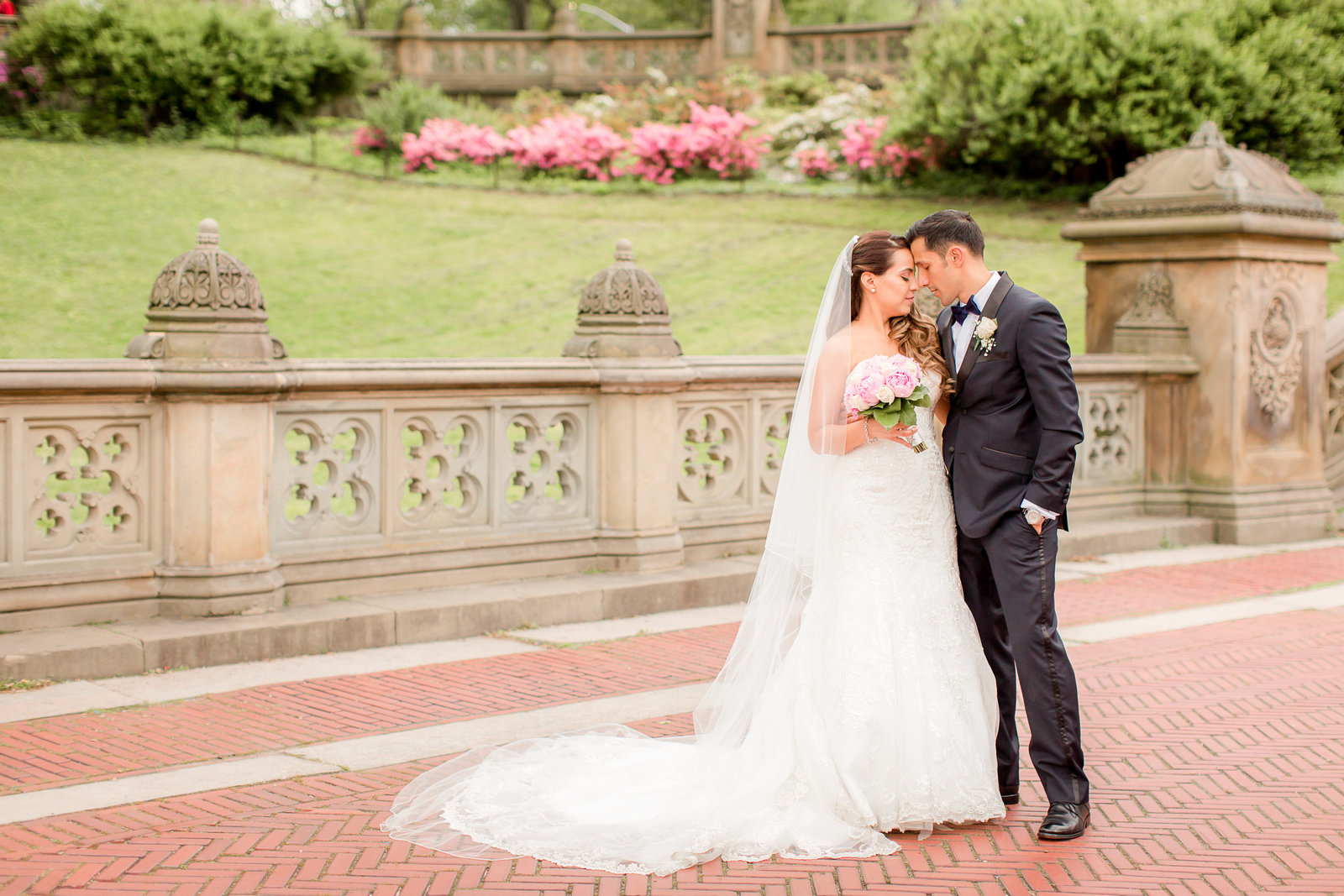 Romantic bride and groom photo at Bethesda Terrace in New York City
