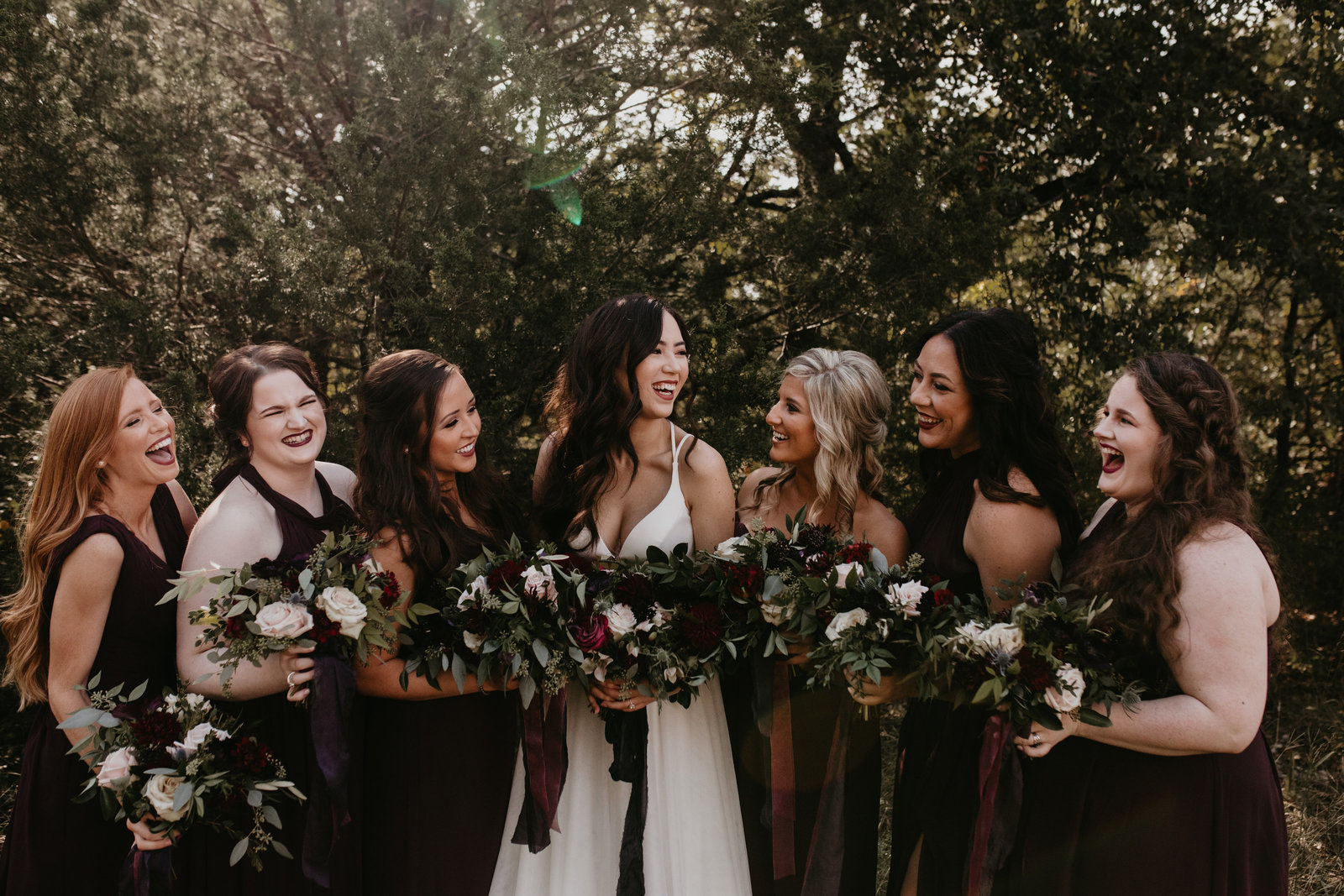 boho fall wedding bridesmaids candid the grove aubrey texas