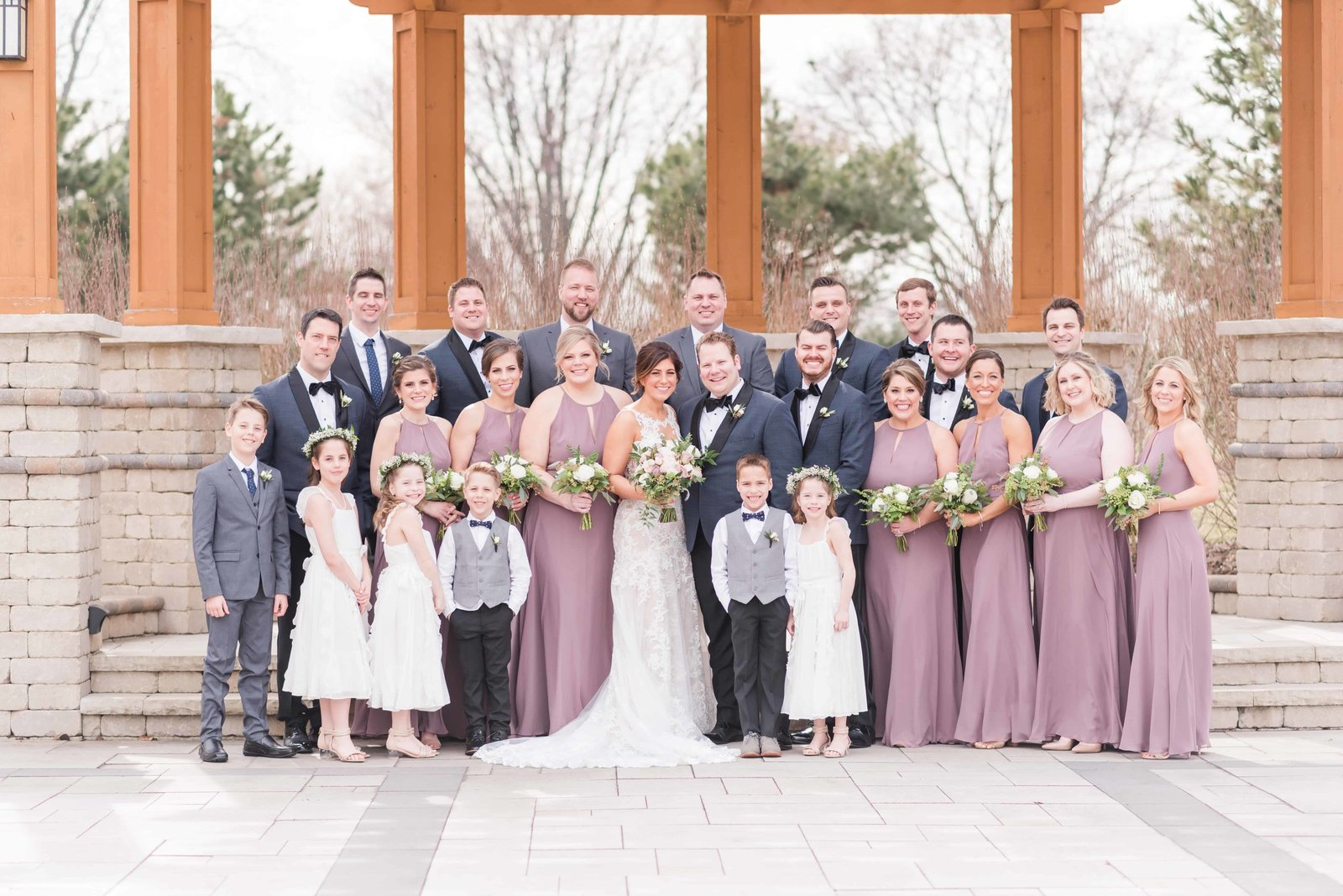 Bridal party group shot at Chevy Chase Country Club