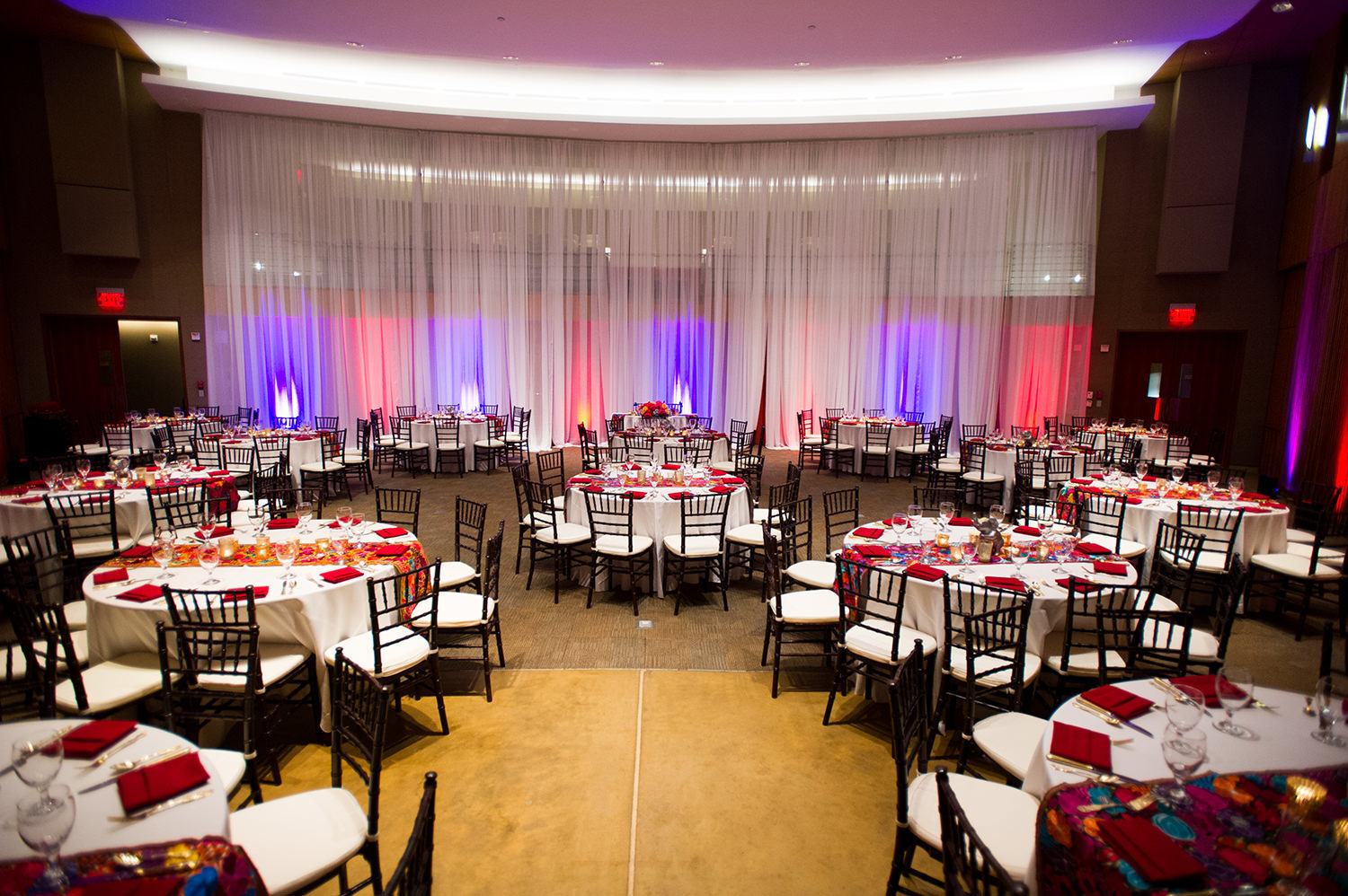 reception space with bright colors
