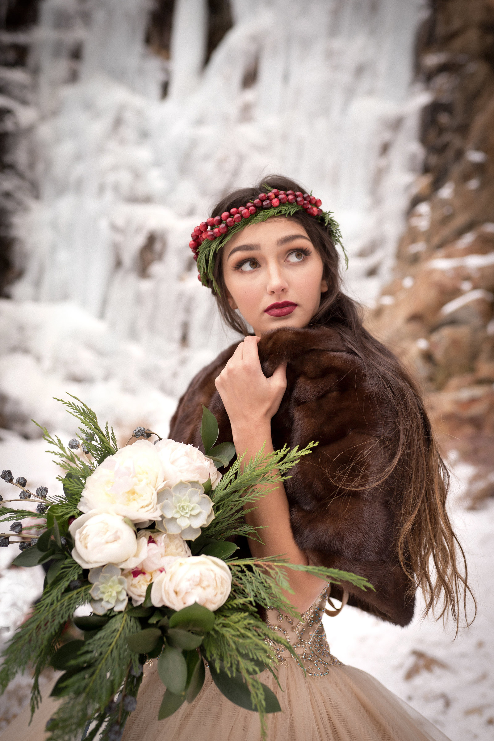 Kamera Lynn Photography Winter Cranberry Floral Crown Velvet Cake Frozen Waterfall Bridal Photoshoot_0011