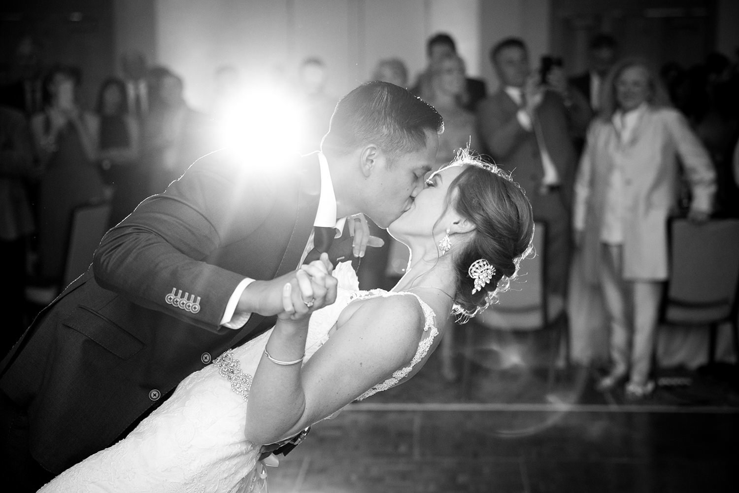 Black and white first dance between bride and groom at Rancho Bernardo Inn