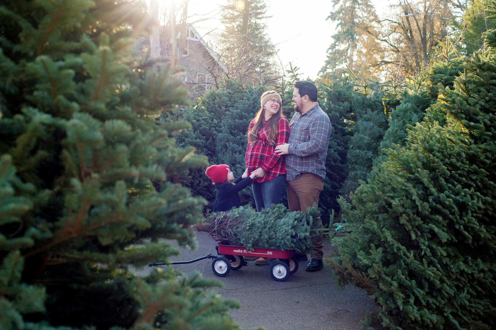 a little girl looks up at her pregnant mom and dad in a christmas tree lot with a radio flyer wagon