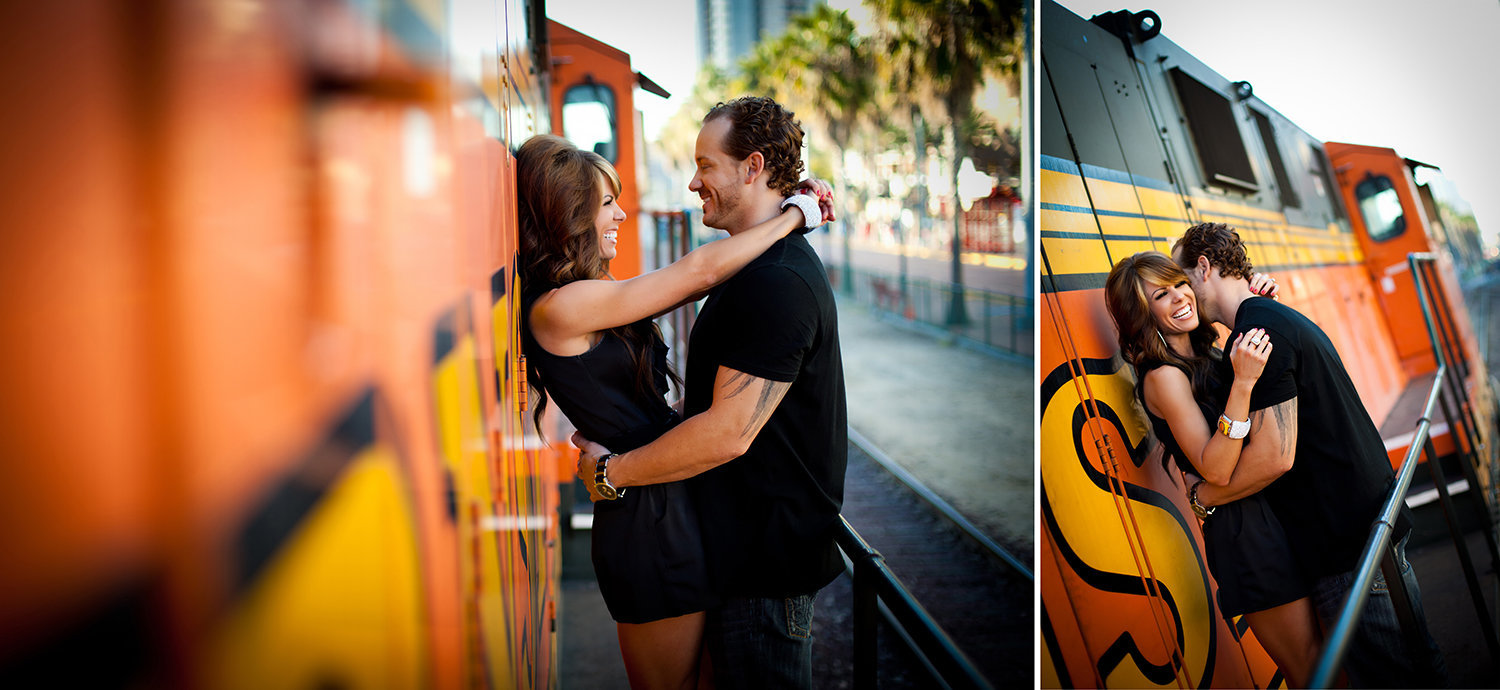 Downtown San Diego engagement photos santa fe train depot urban
