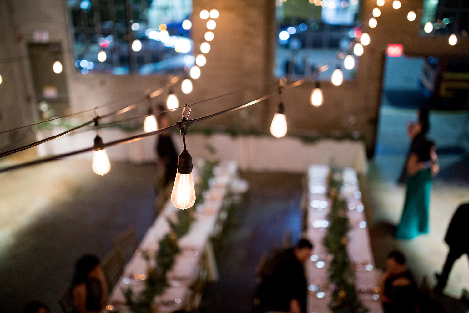 reception space with bride and groom at luce loft