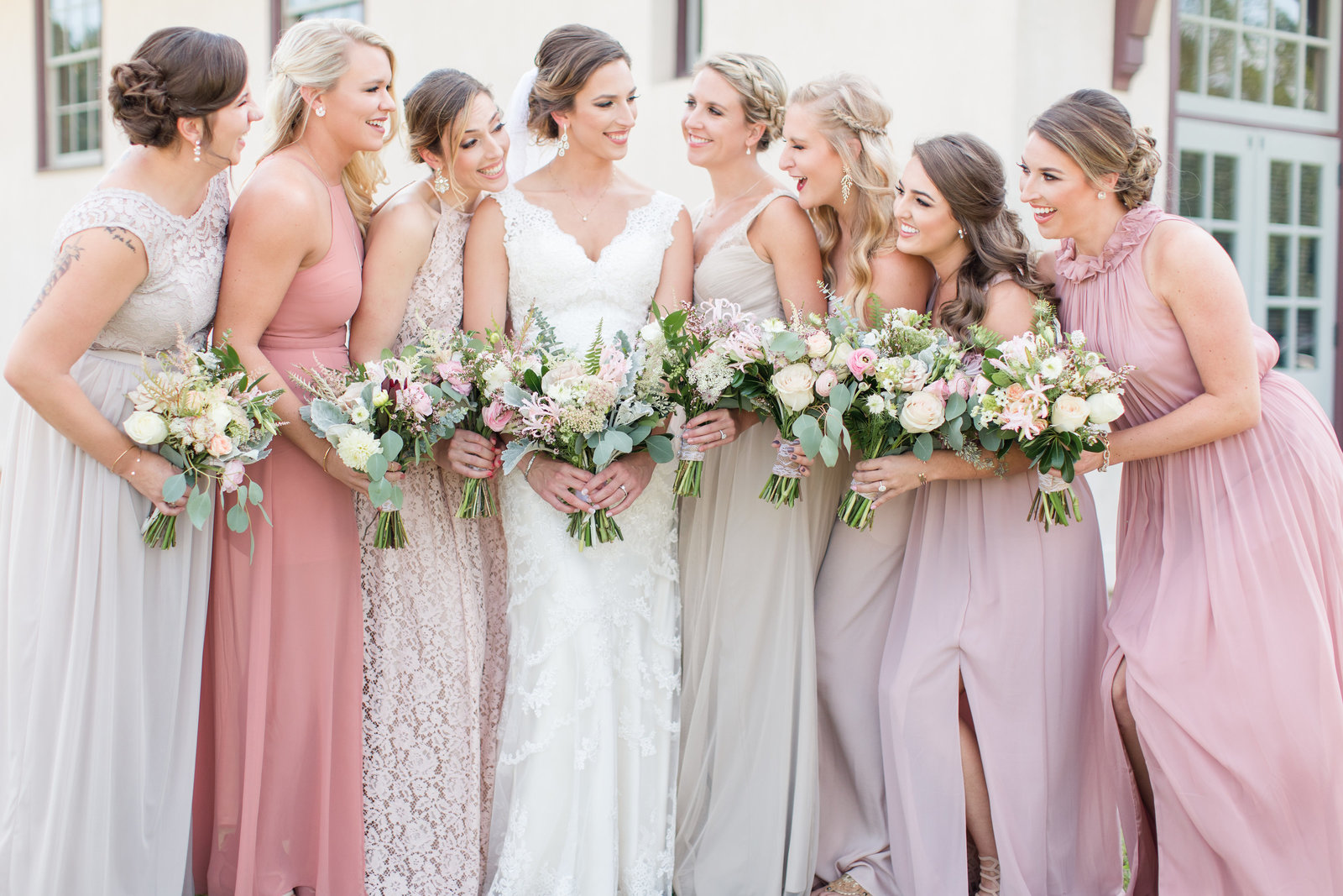 Beautiful wedding-stylish bridal party-Fair Barn Wedding, Pinehurst NC